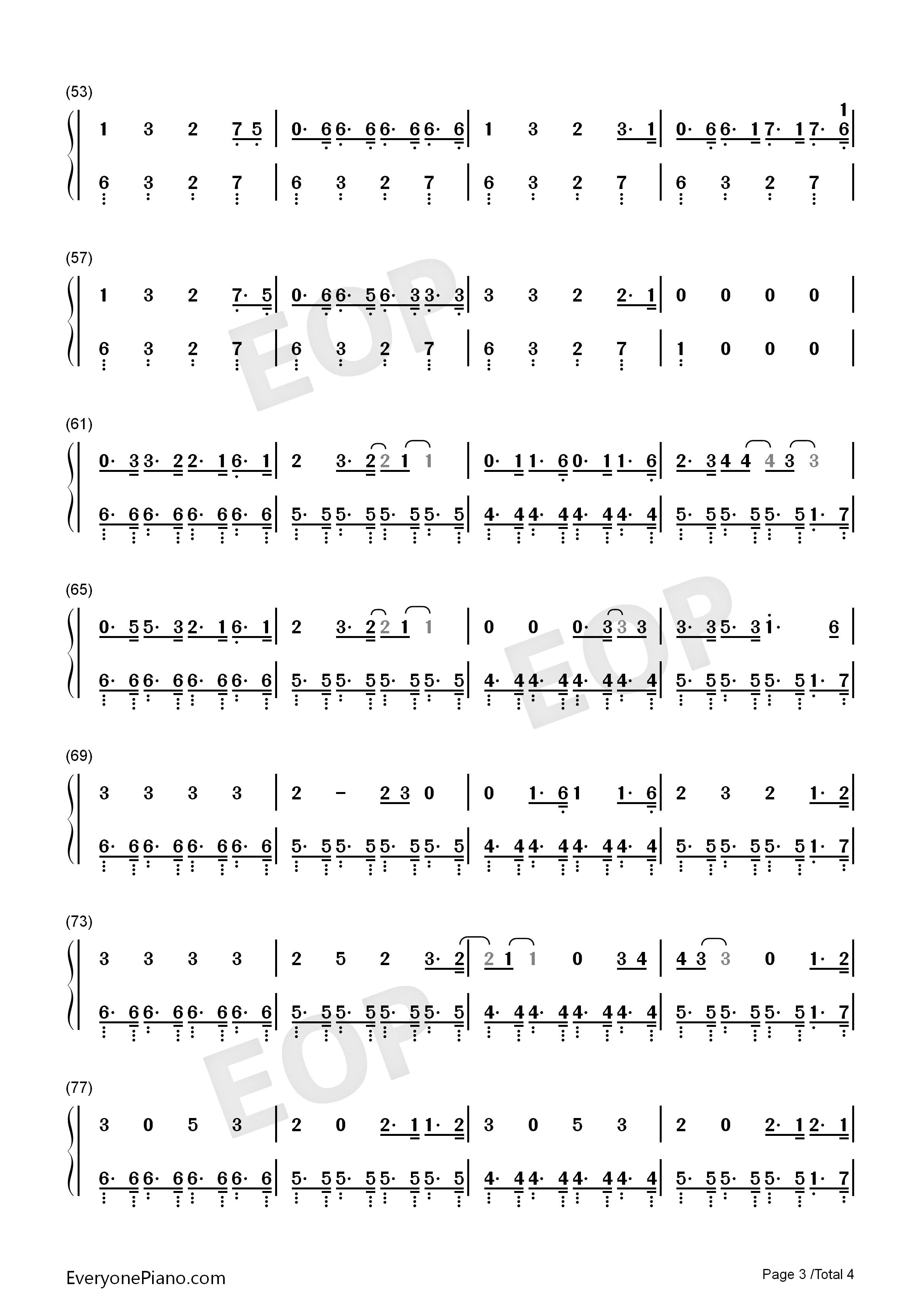 钢琴谱简谱双手完c调