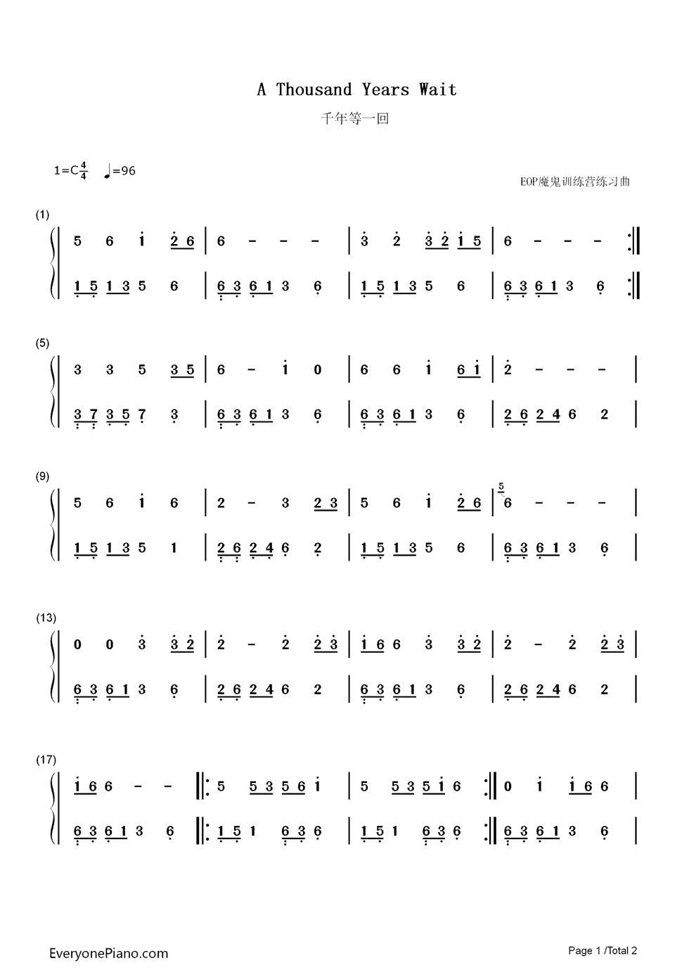 千年等一回简单版-eop教学曲双手简谱预览1