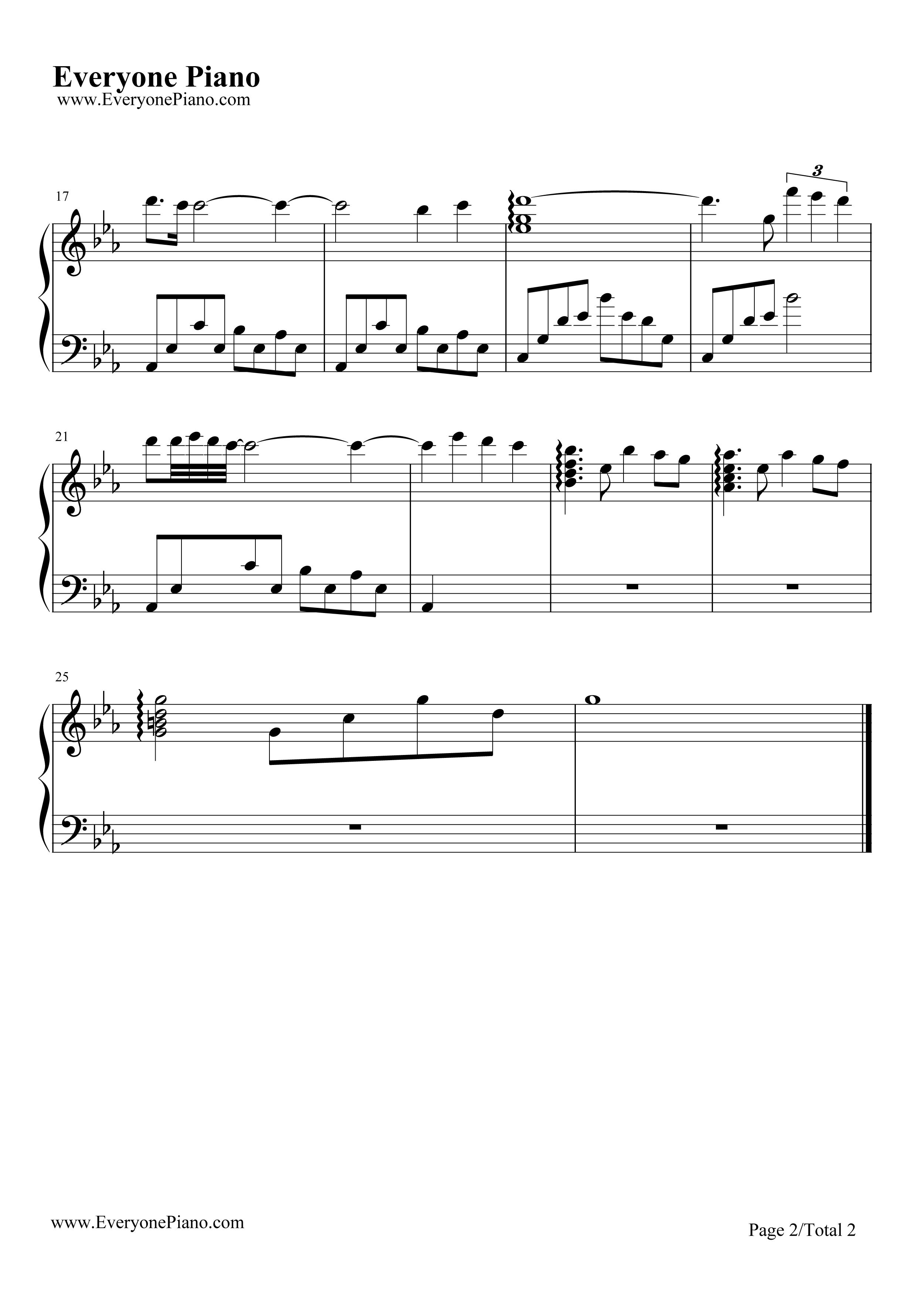 钢琴曲谱 动漫 遗失的乐园-天空之城插曲-宫崎骏动画 遗失的乐园-天空