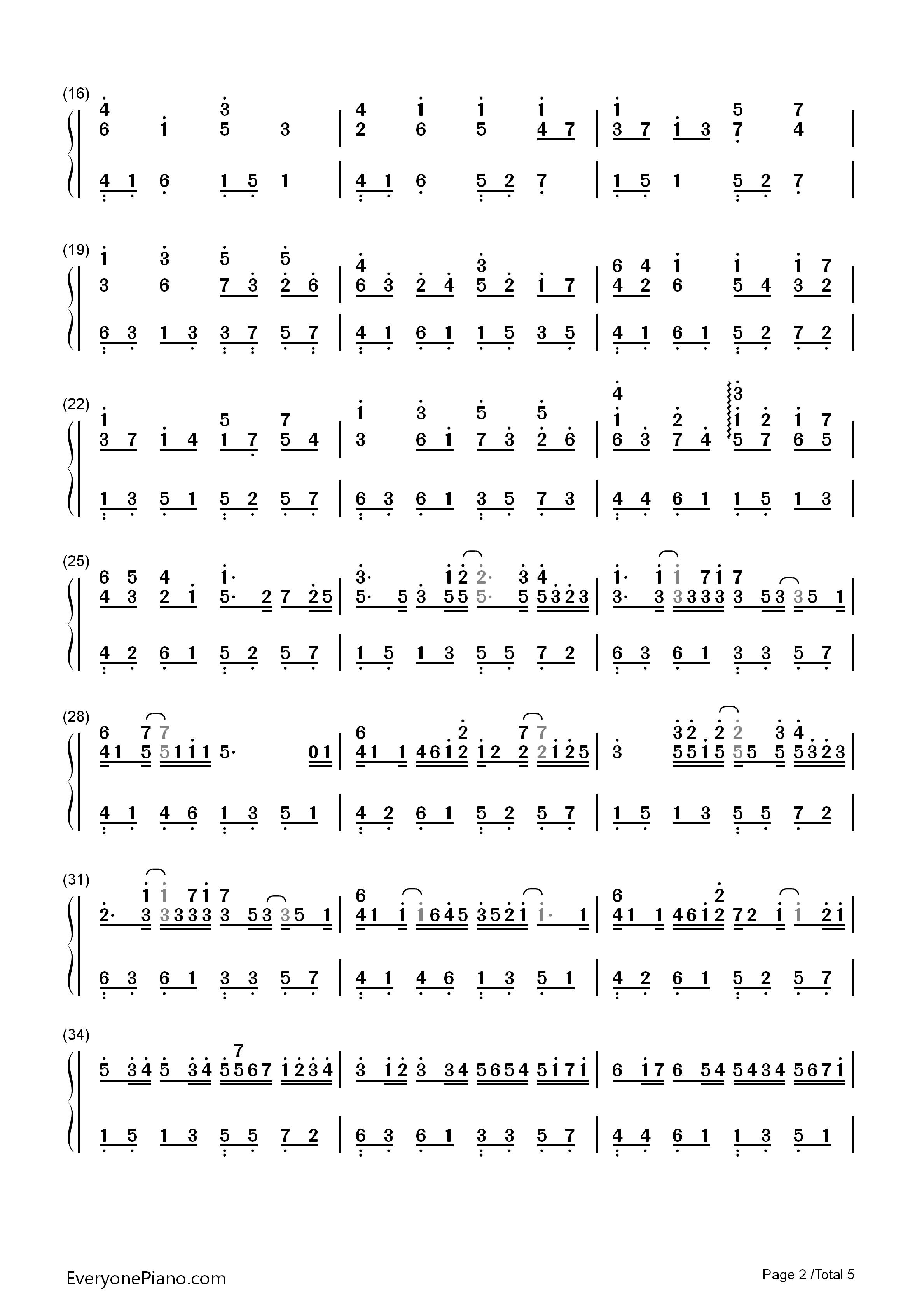 卡农简谱钢琴版双手