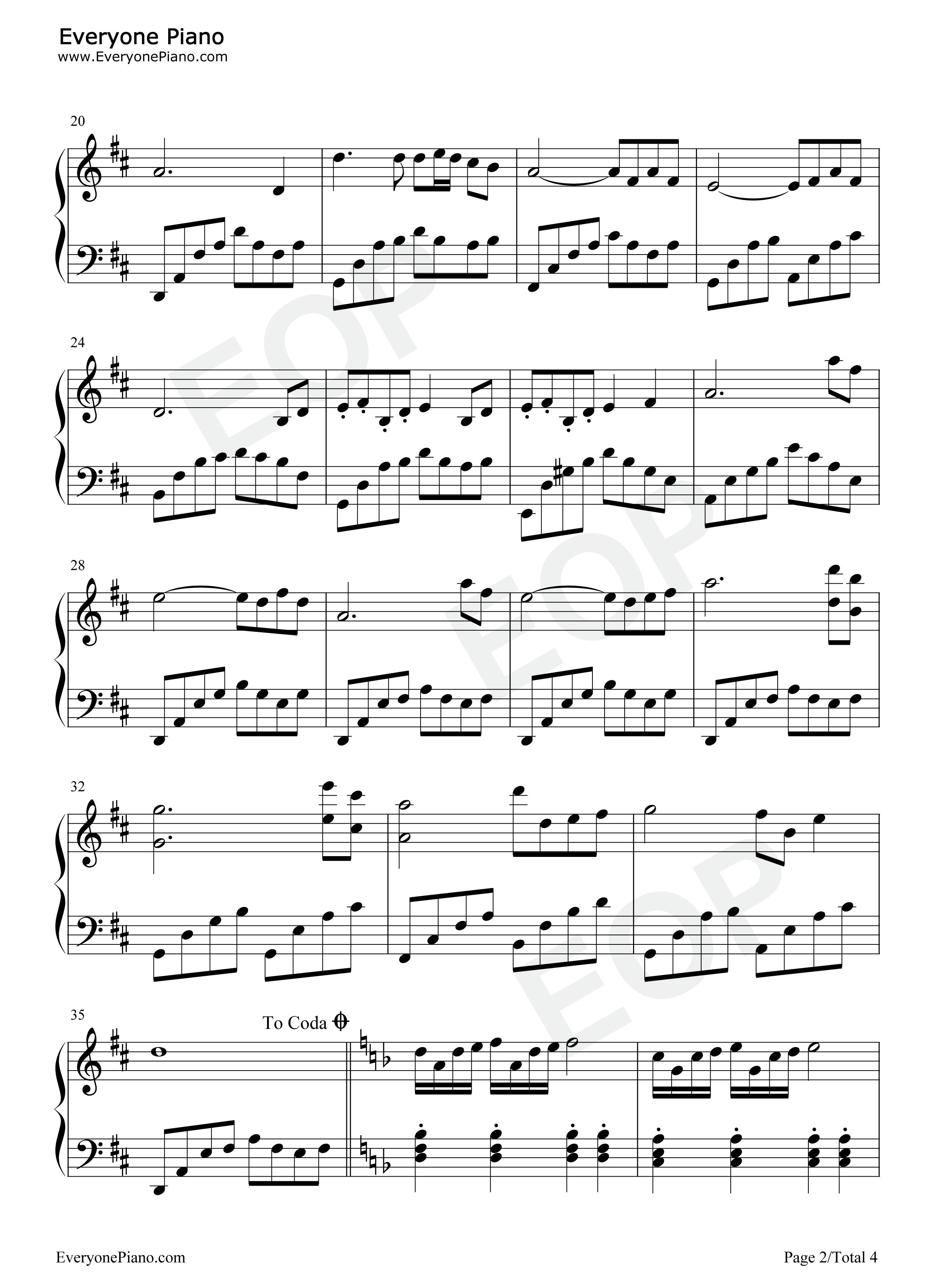 银河铁道之夜-银河鉄道の夜-久石让五线谱预览2-钢琴