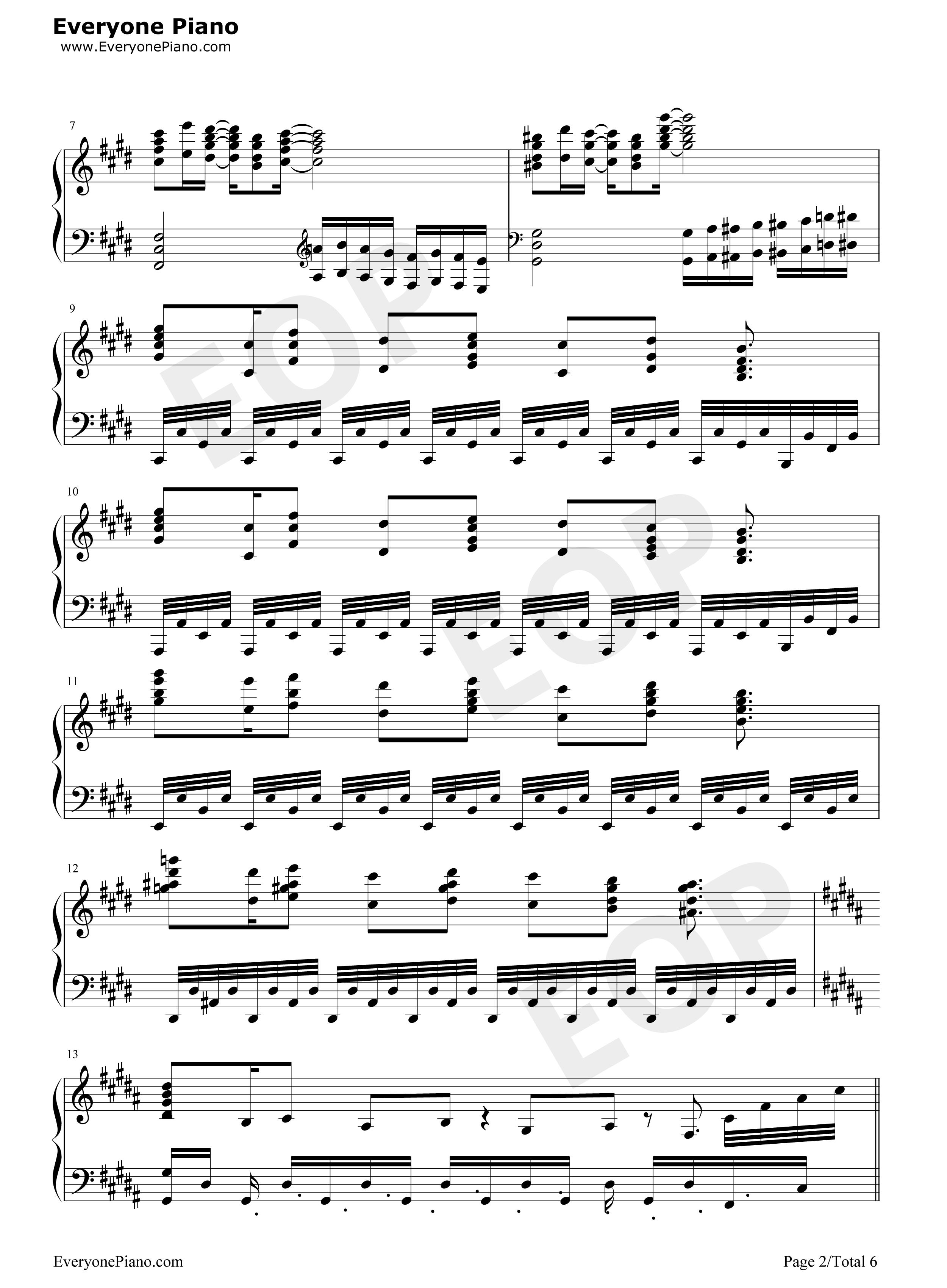 P曲 钢琴谱 五线谱