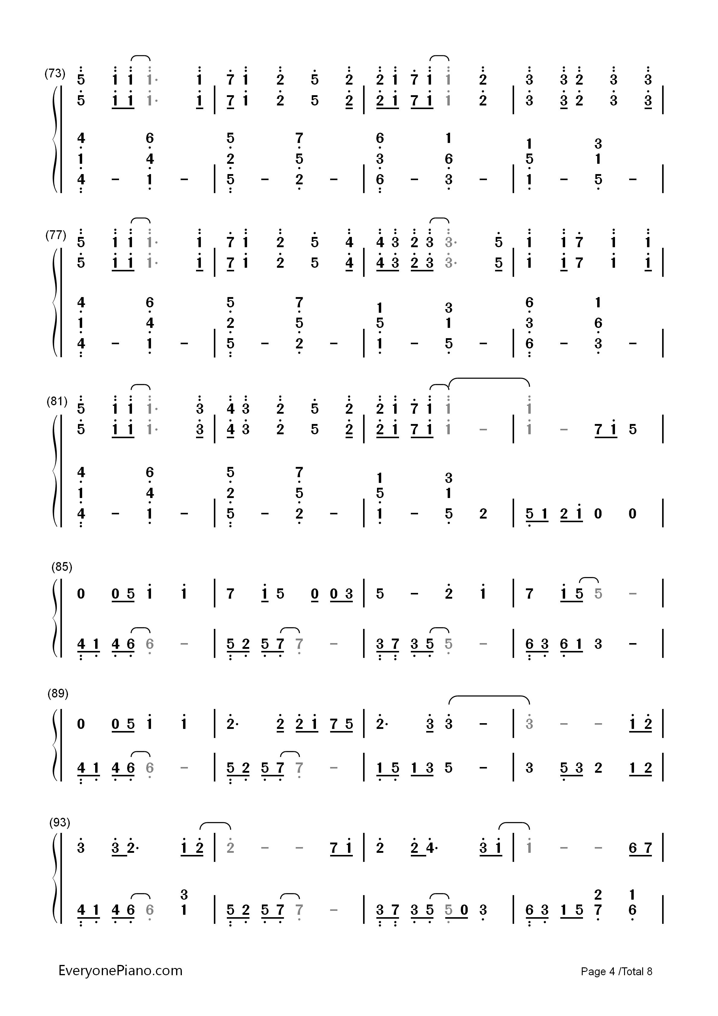 letter song-致十年后的我-初音ミク双手简谱预览4