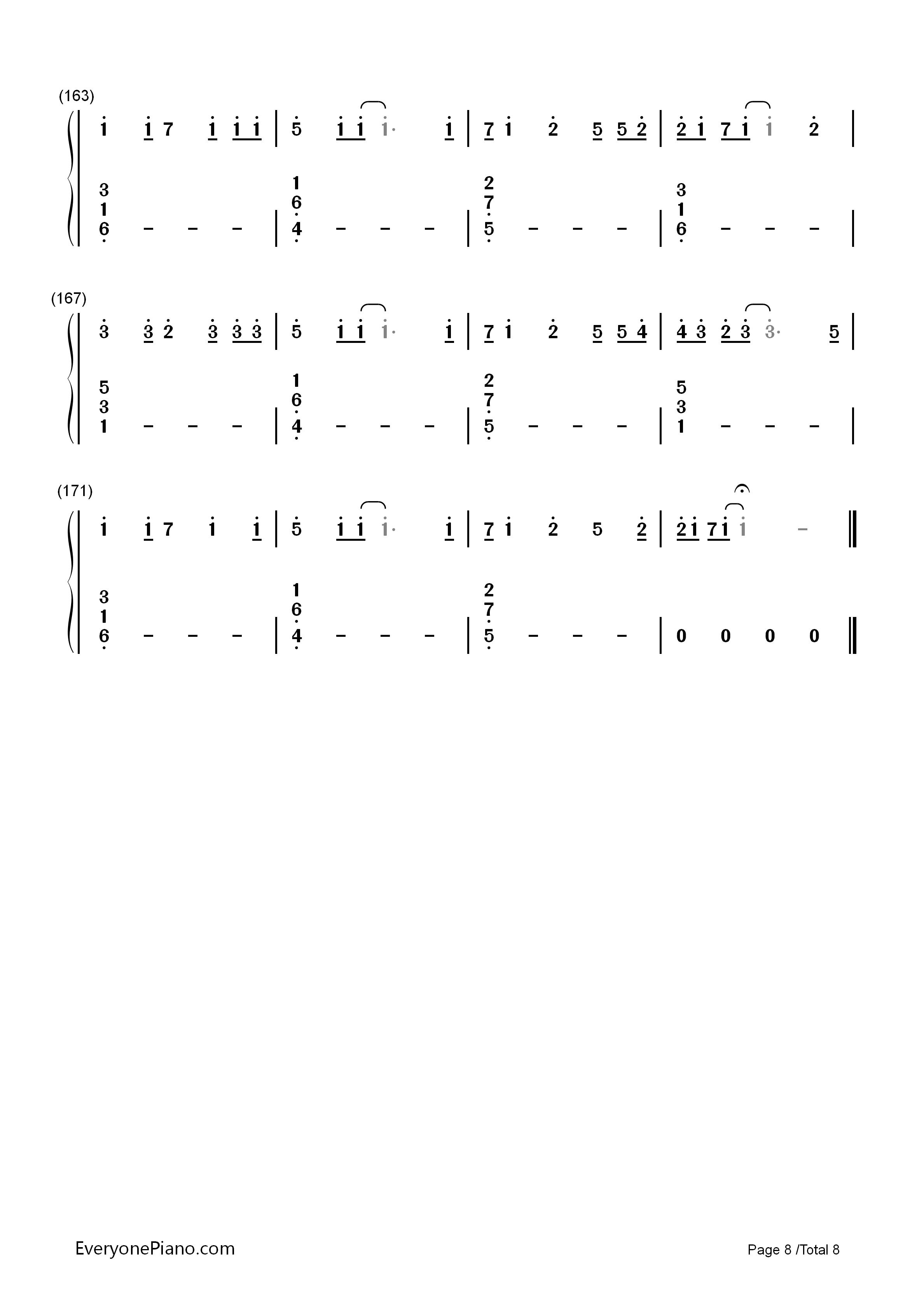 letter song-致十年后的我-初音ミク双手简谱预览8
