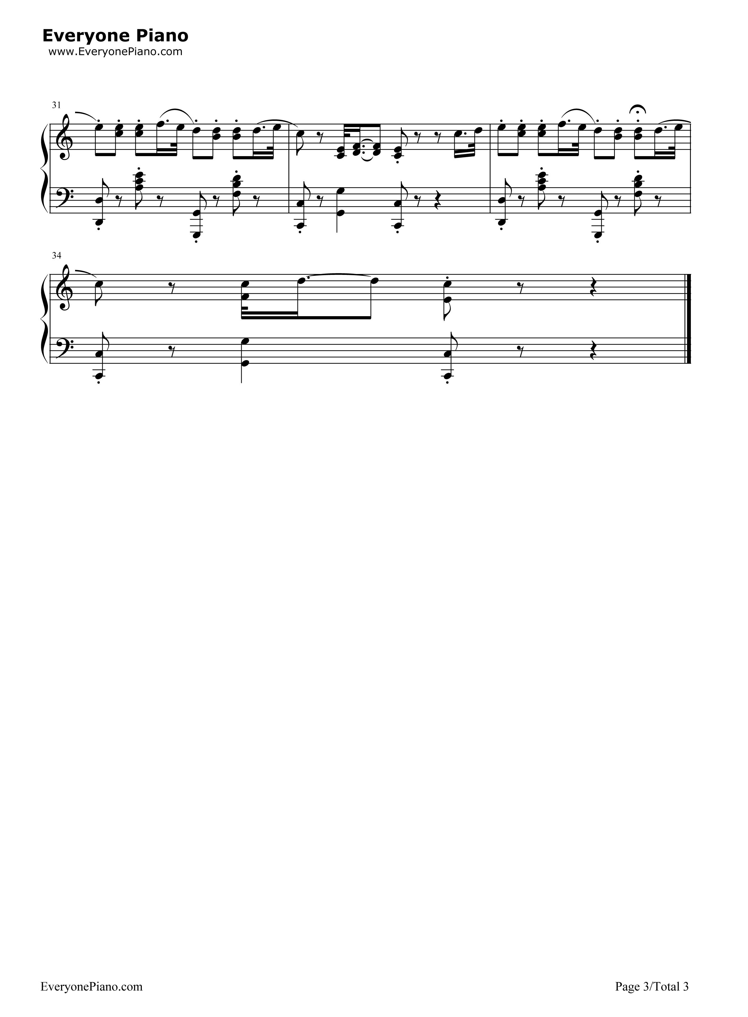 可爱颂-韩国最新洗脑神曲五线谱预览3-钢琴谱