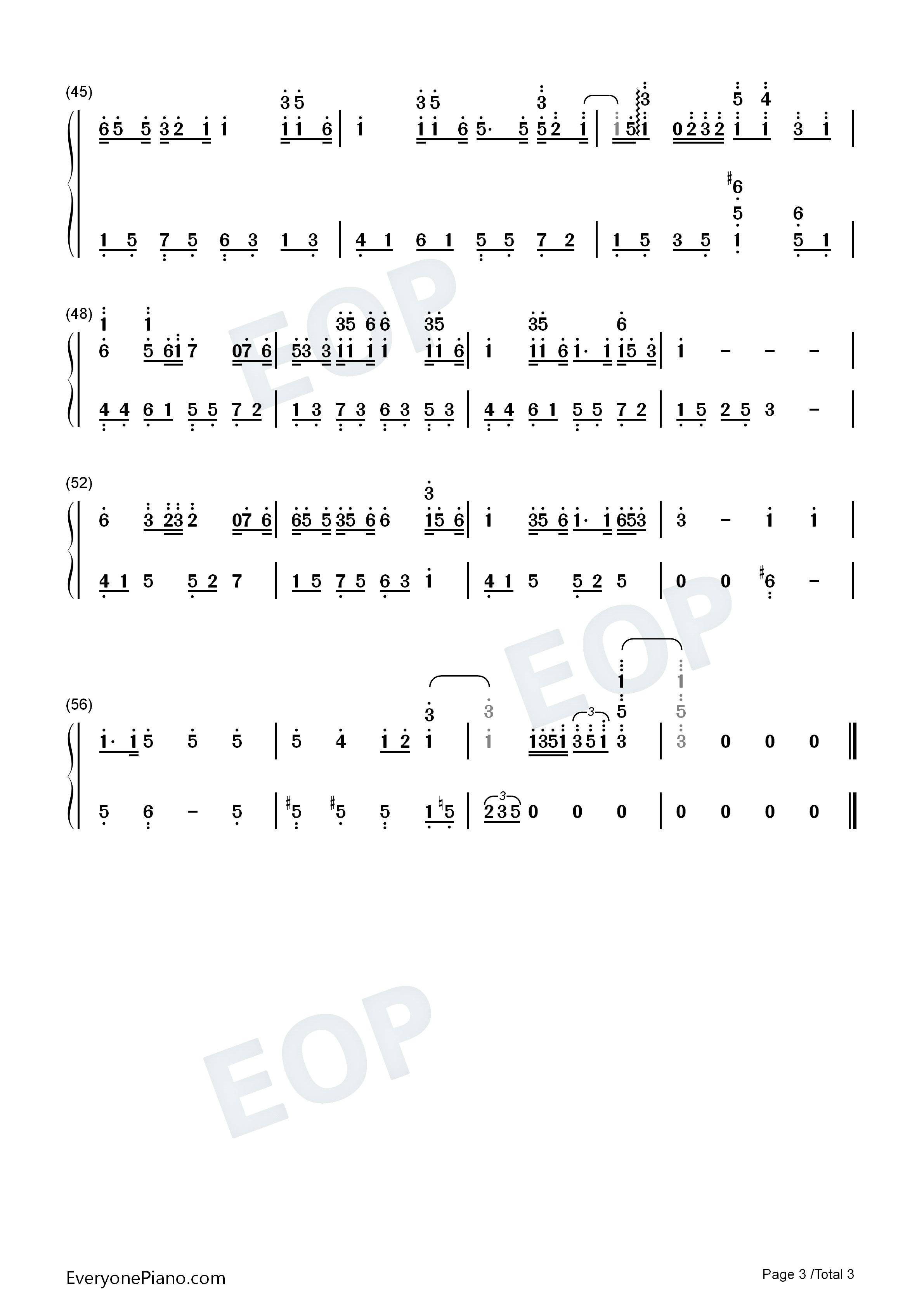 钢琴曲谱 流行 我的歌声裏-唯美简单版-eop教学曲 我的歌声裏-唯美