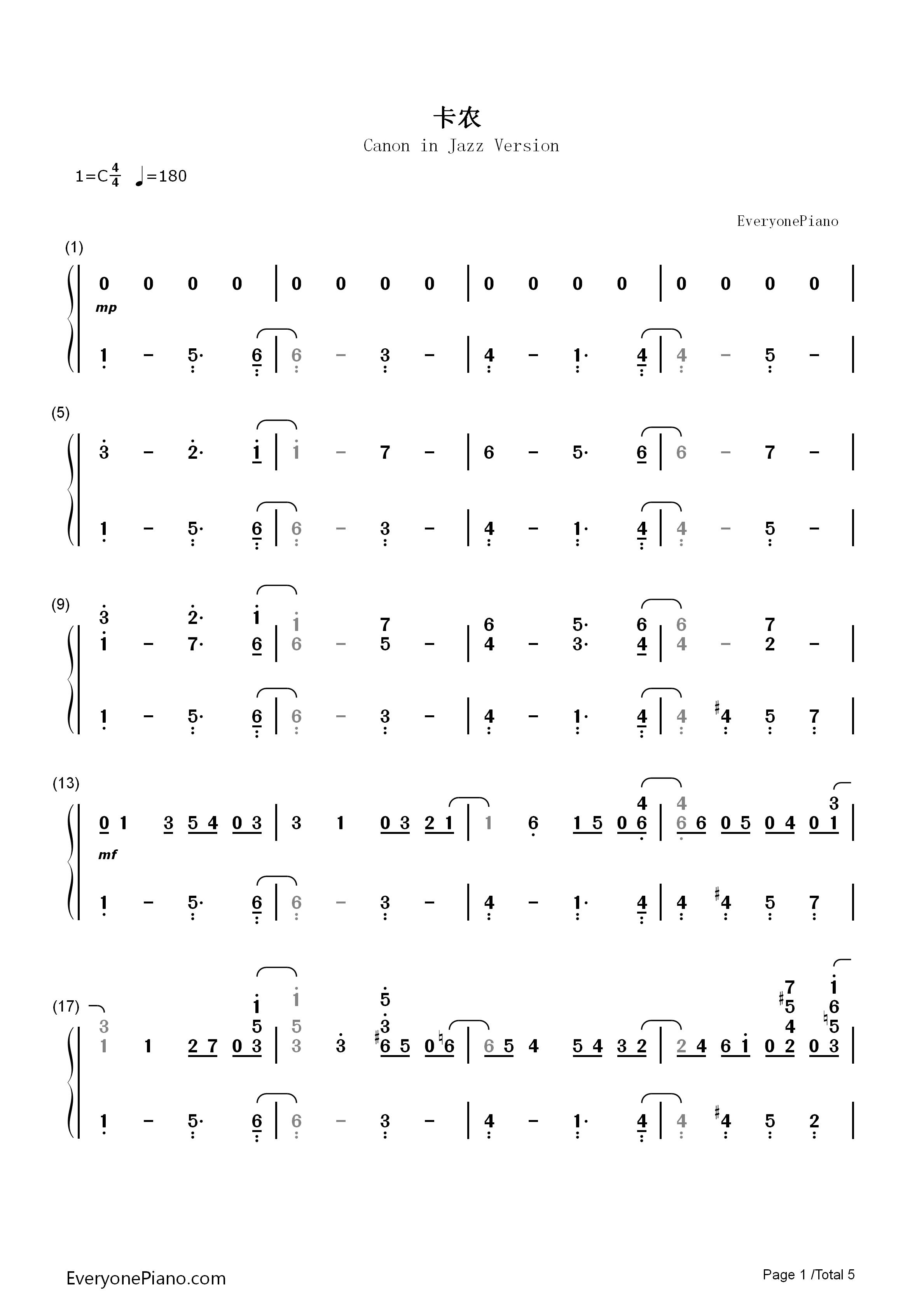 卡农-爵士版-eop教学曲双手简谱预览1-钢琴谱