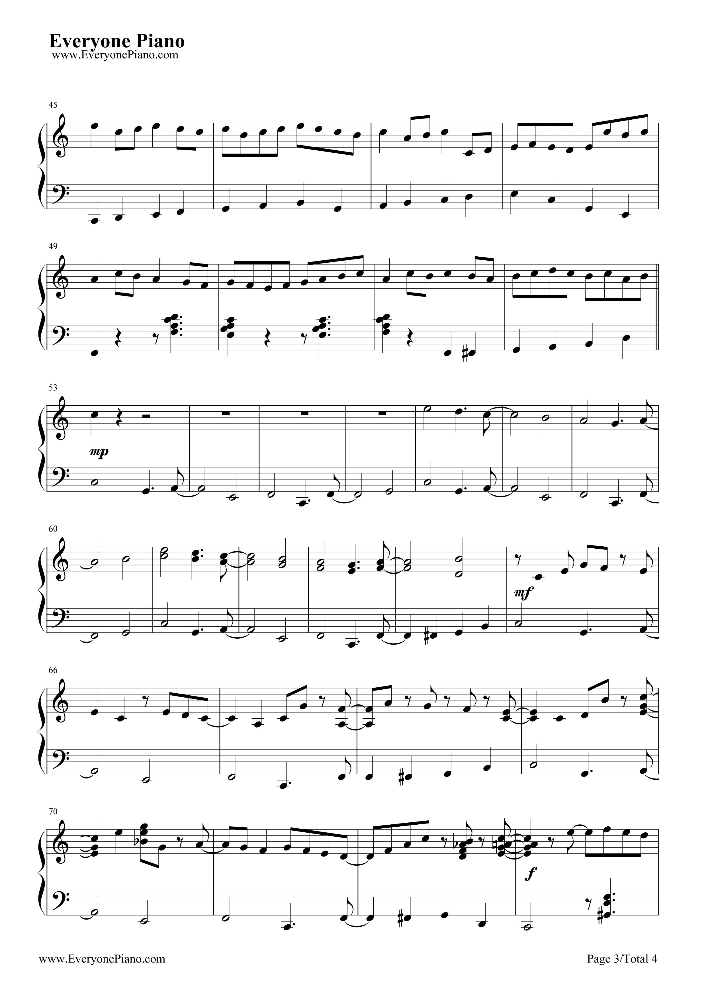 钢琴曲谱 经典 卡农-爵士版 卡农-爵士版五线谱预览3  }  仅供学习