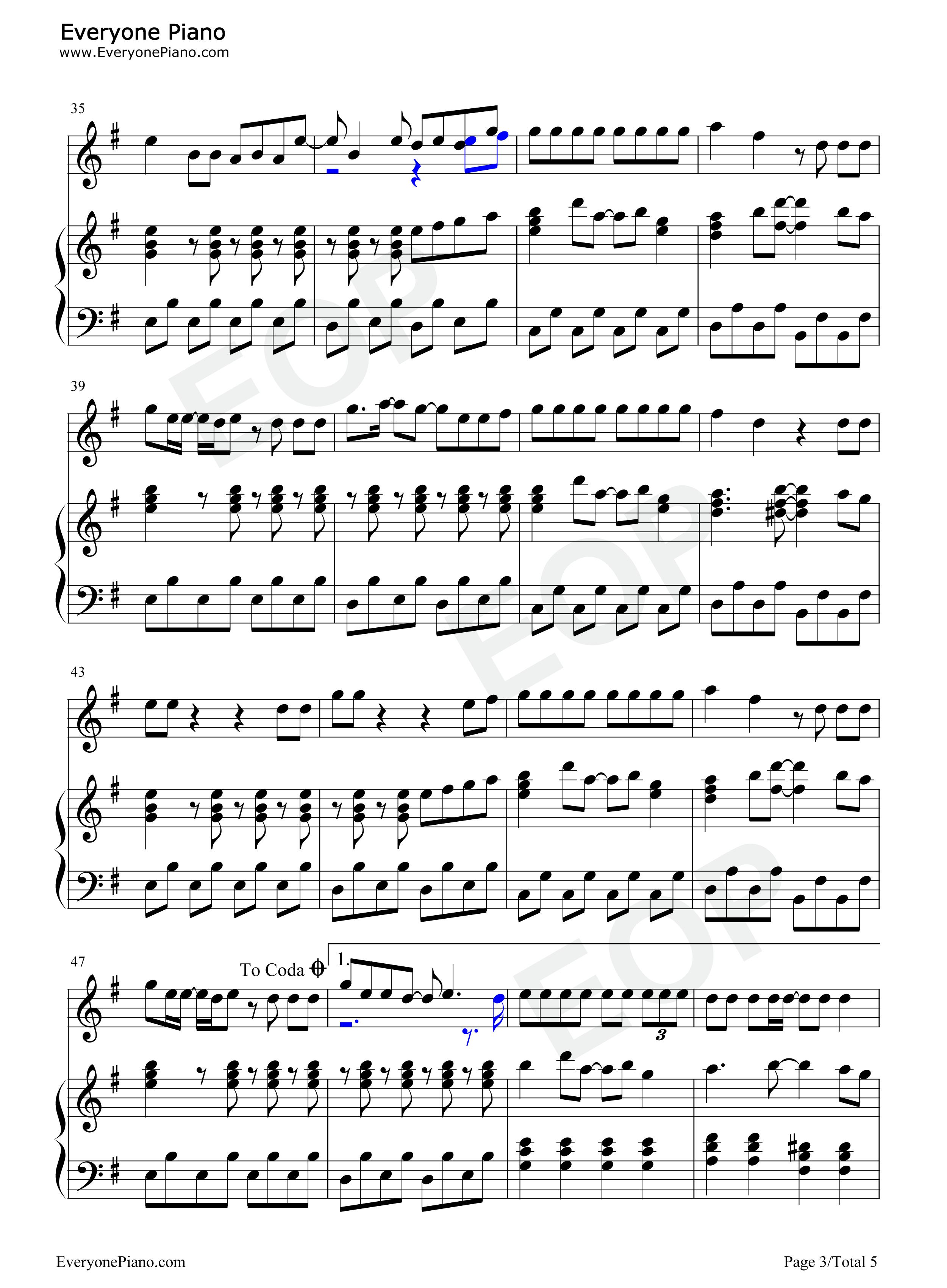 谎言 伴奏版 bigbang eop教学曲五线谱预览3 钢琴谱求-谎言bigbang