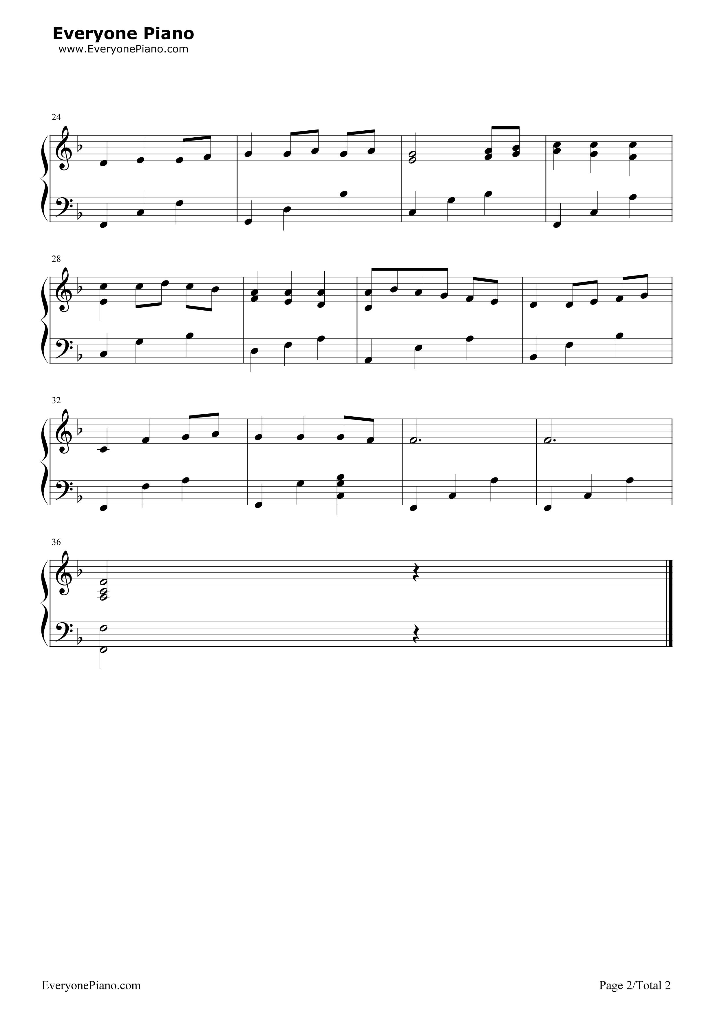 always with me简单版-eop教学曲五线谱预览2-钢琴谱-staywithme的钢