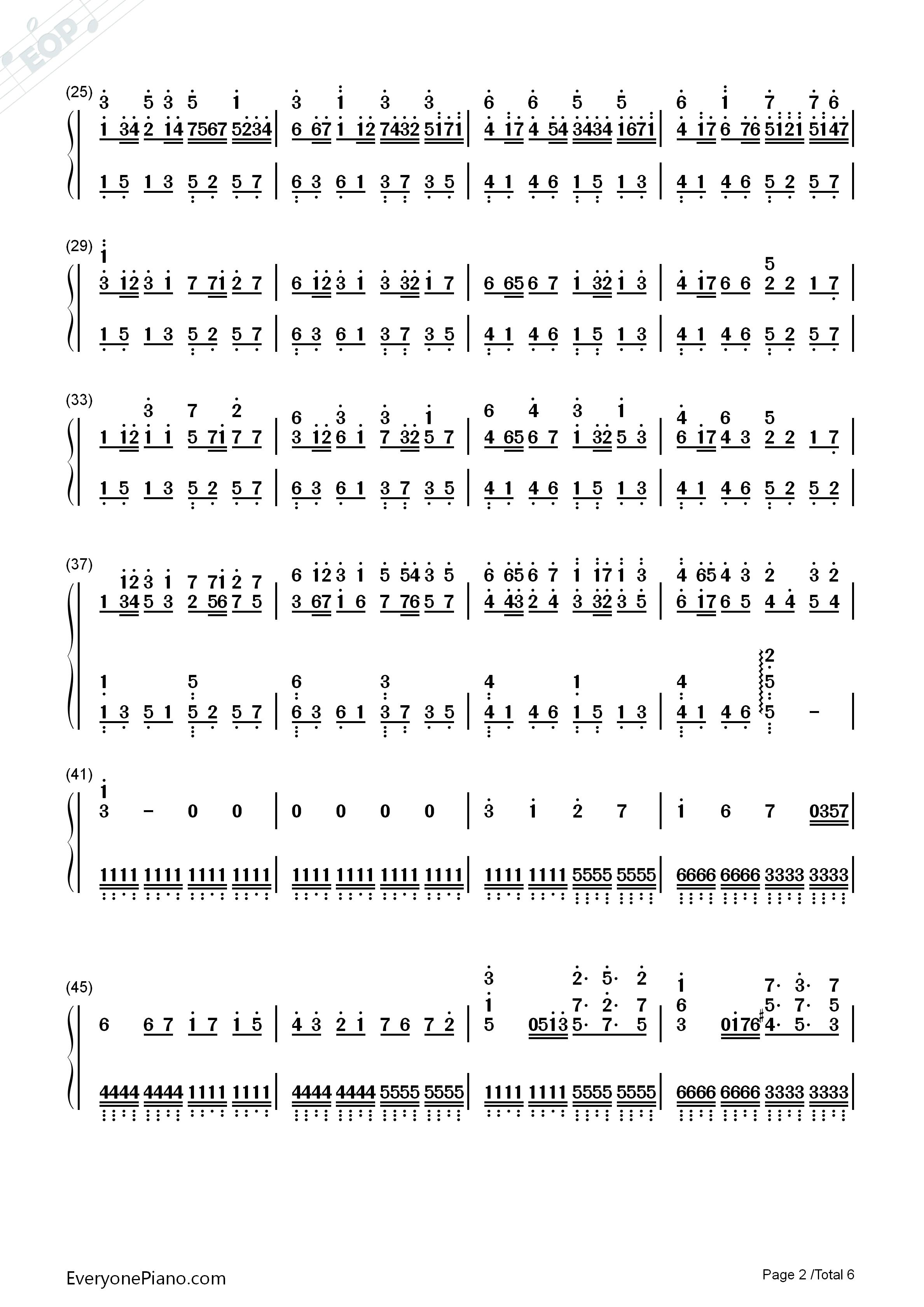 卡农疯狂版双手简谱预览2-钢琴谱(五线谱,双手简谱)