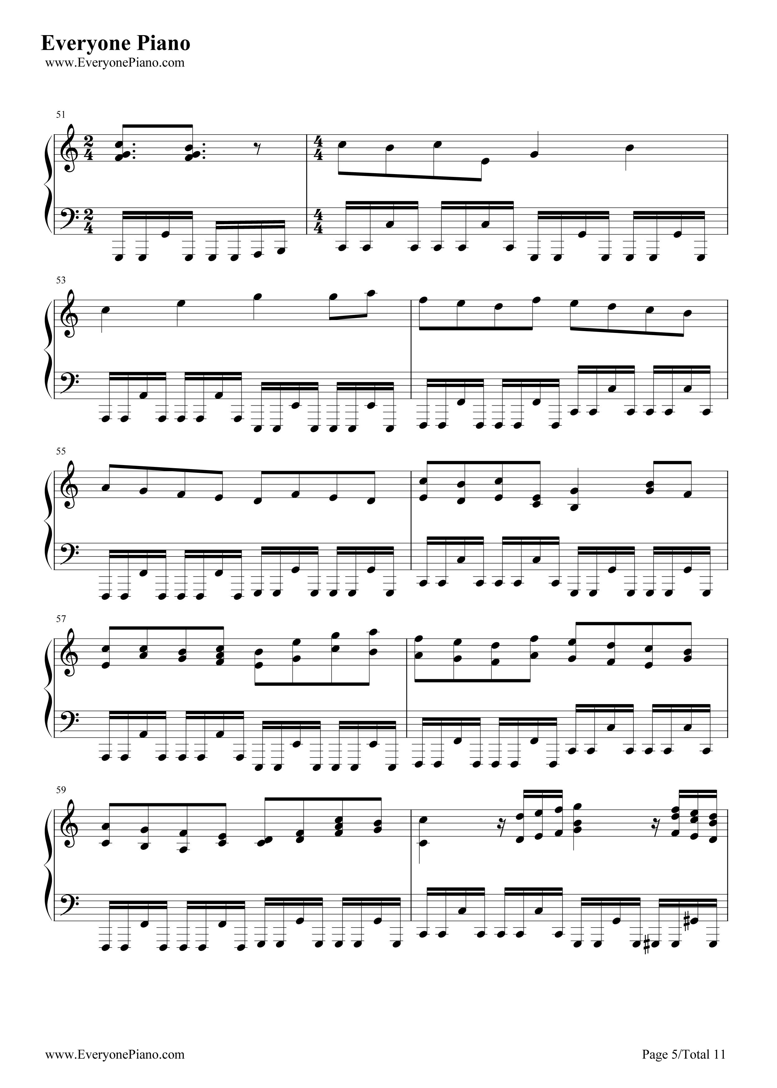十级钢琴曲谱子-卡农五级钢琴谱
