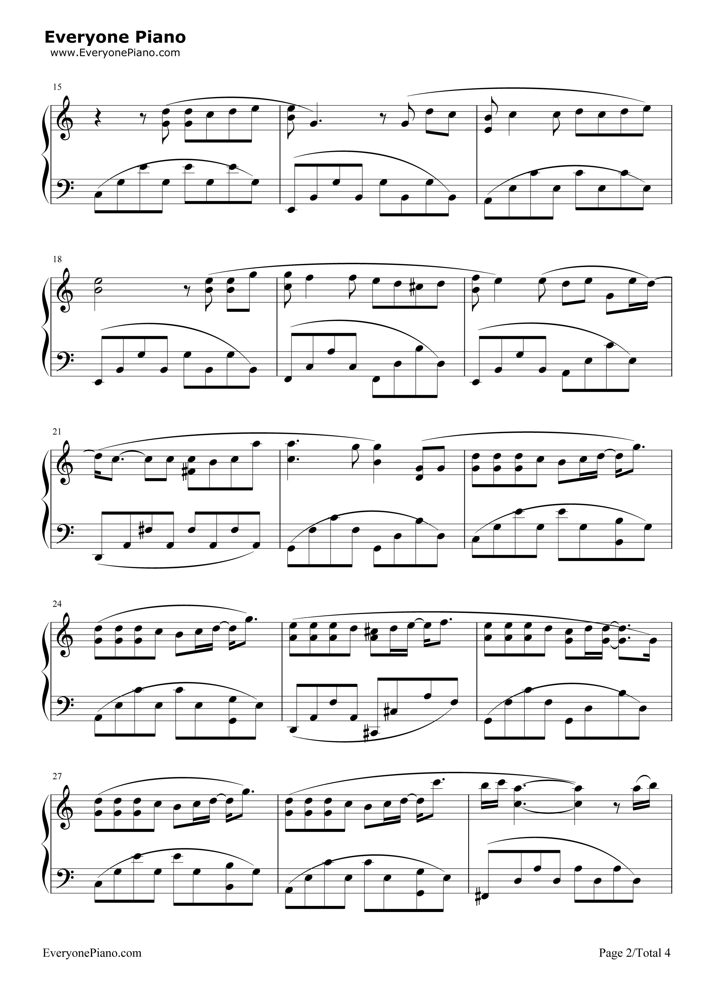 退后-周杰伦五线谱预览2-钢琴谱(五线谱,双手简谱)