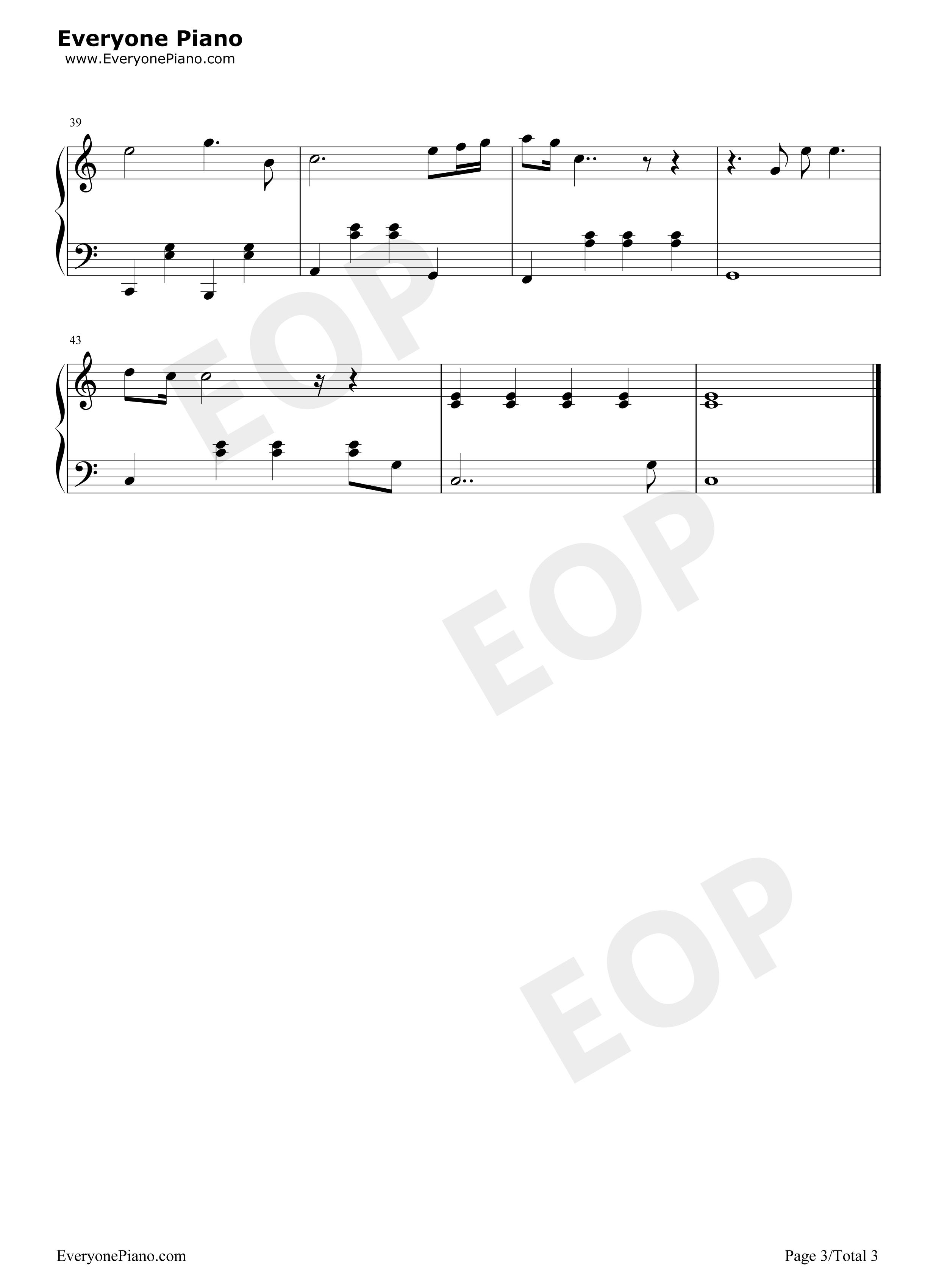 爱很简单-陶喆五线谱预览3-钢琴谱(五线谱,双手简谱)