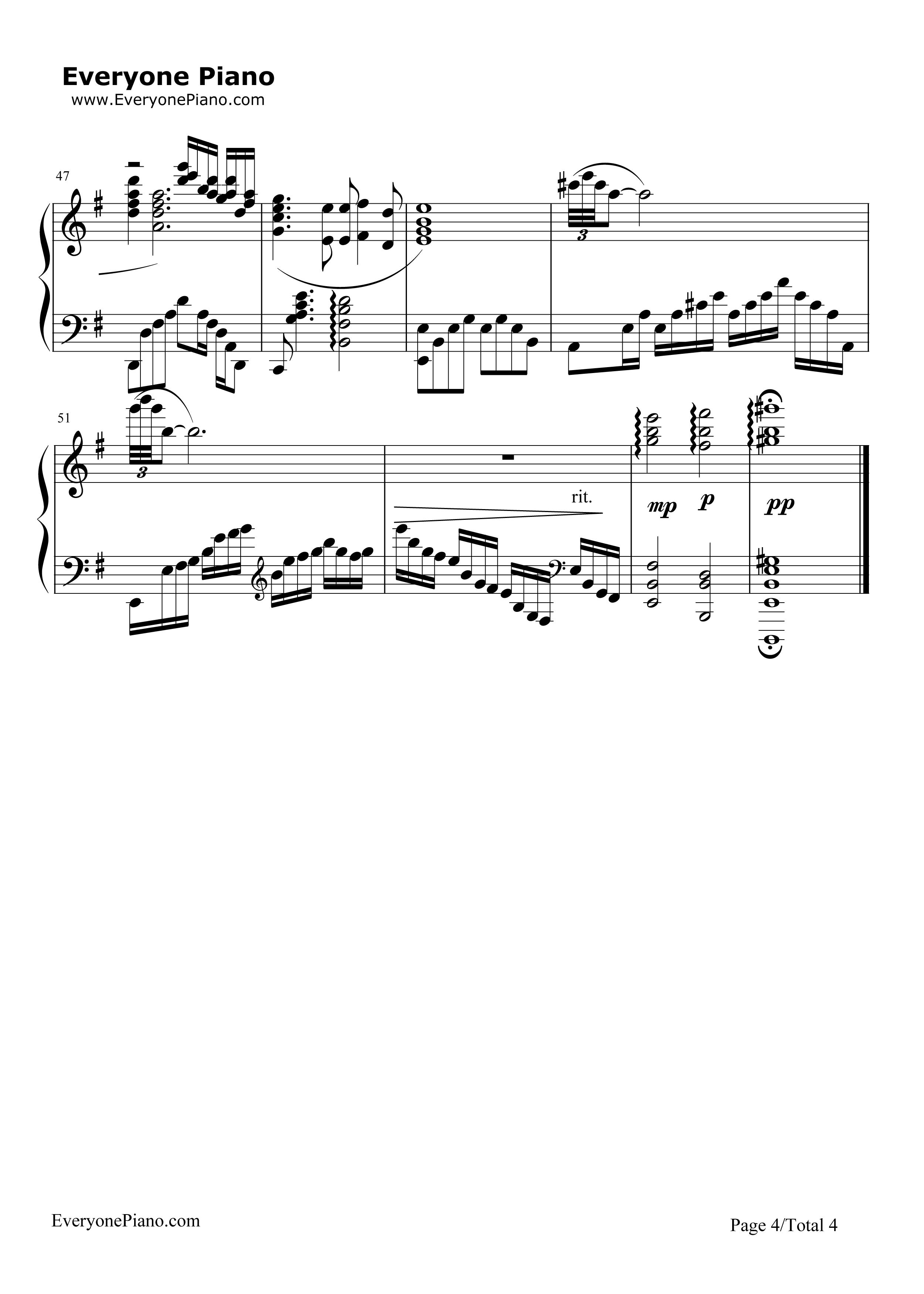钢琴曲谱 影视 铁血丹心--完整版-射雕英雄传主题曲 铁血丹心--完整版