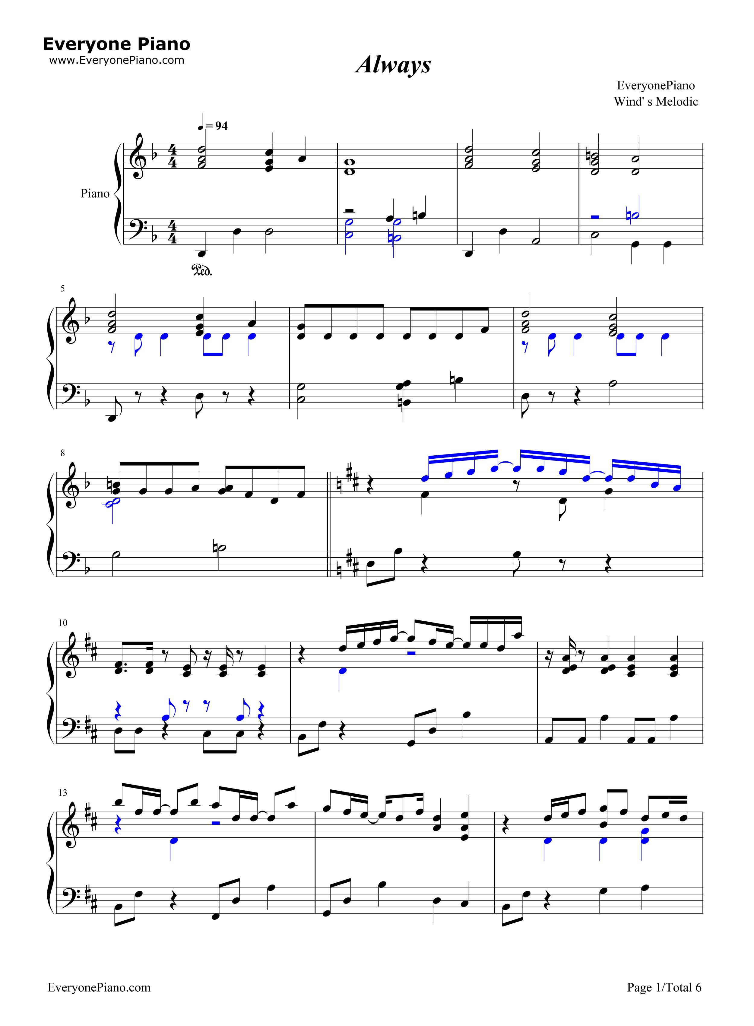 always-名侦探柯南剧场版主题曲五线谱预览1-钢琴谱