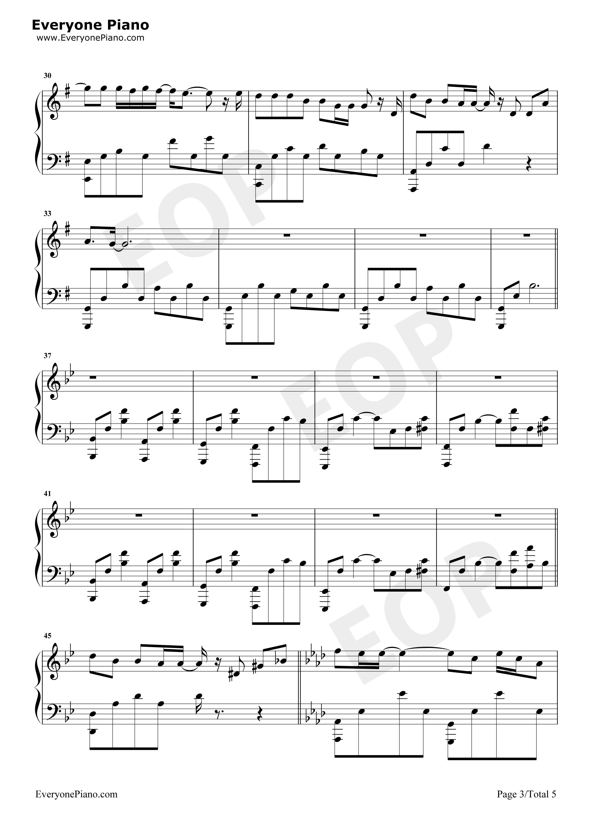 半岛铁盒-周杰伦五线谱预览3-钢琴谱(五线谱,双手简谱