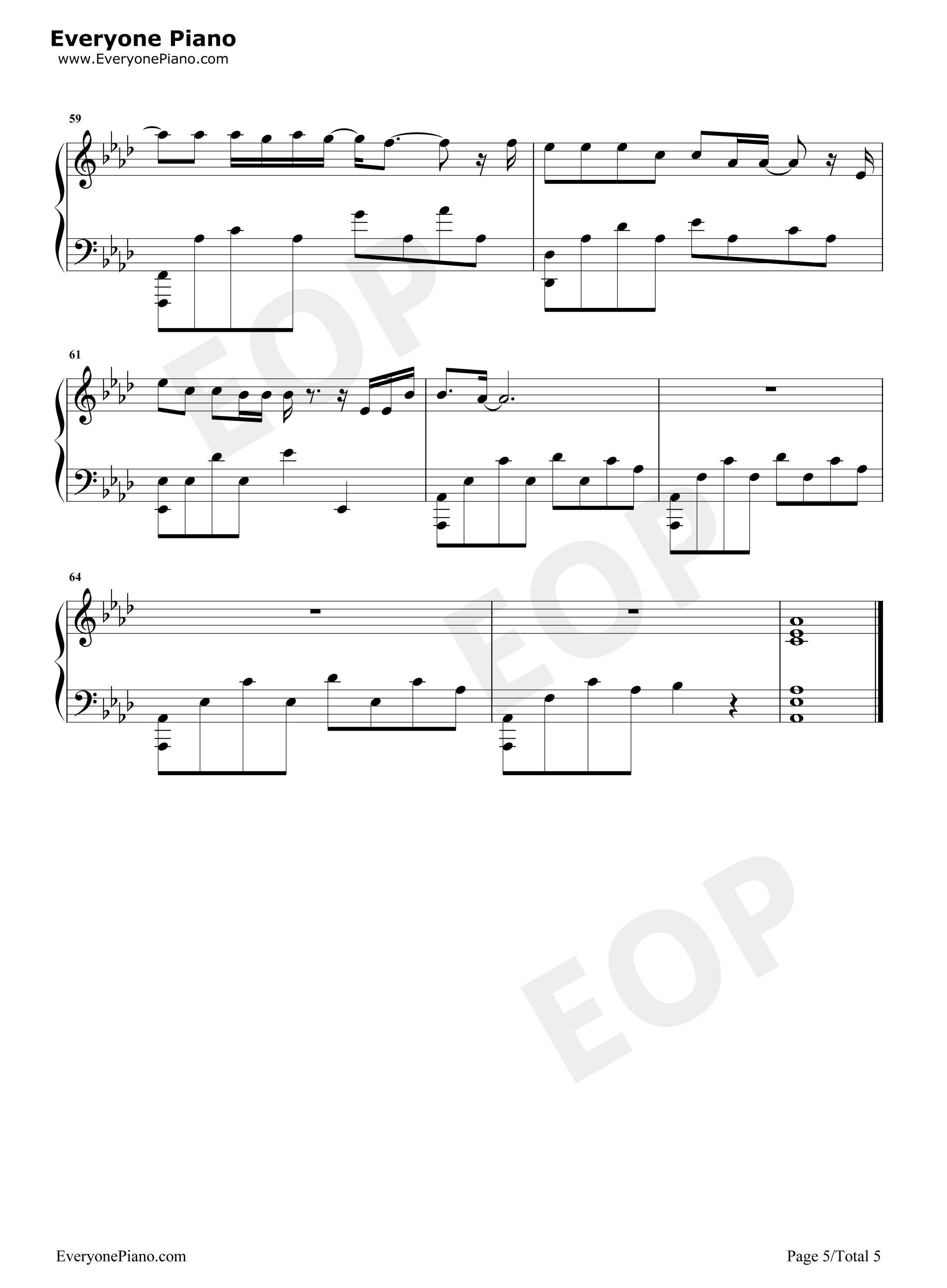半岛铁盒-周杰伦五线谱预览5-钢琴谱(五线谱,双手简谱