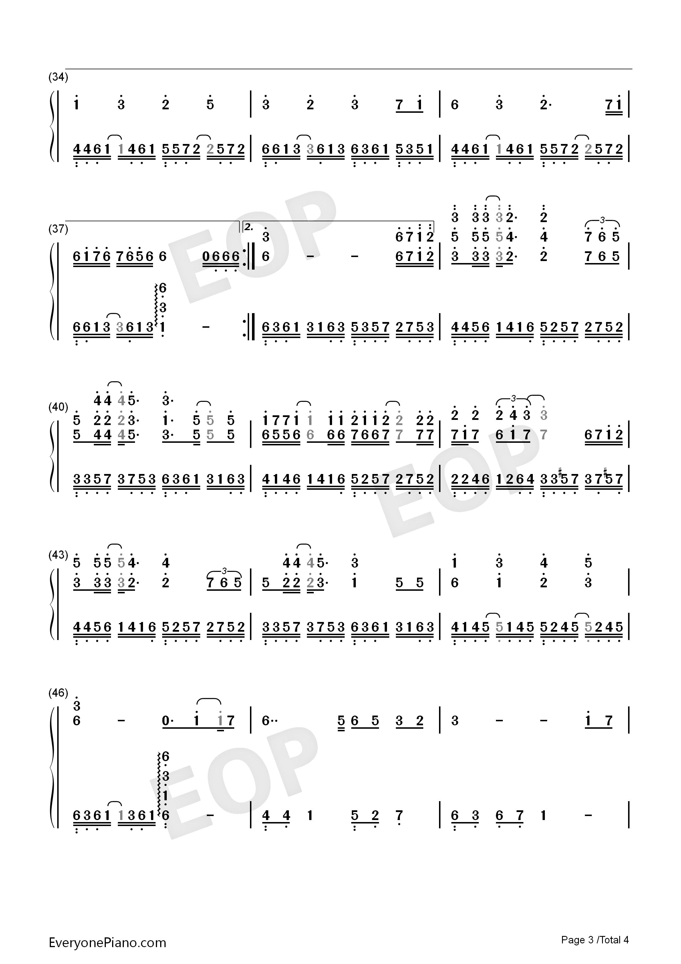 钢琴曲谱 流行 天下-张杰 天下-张杰双手简谱预览3  }  仅供学习交流