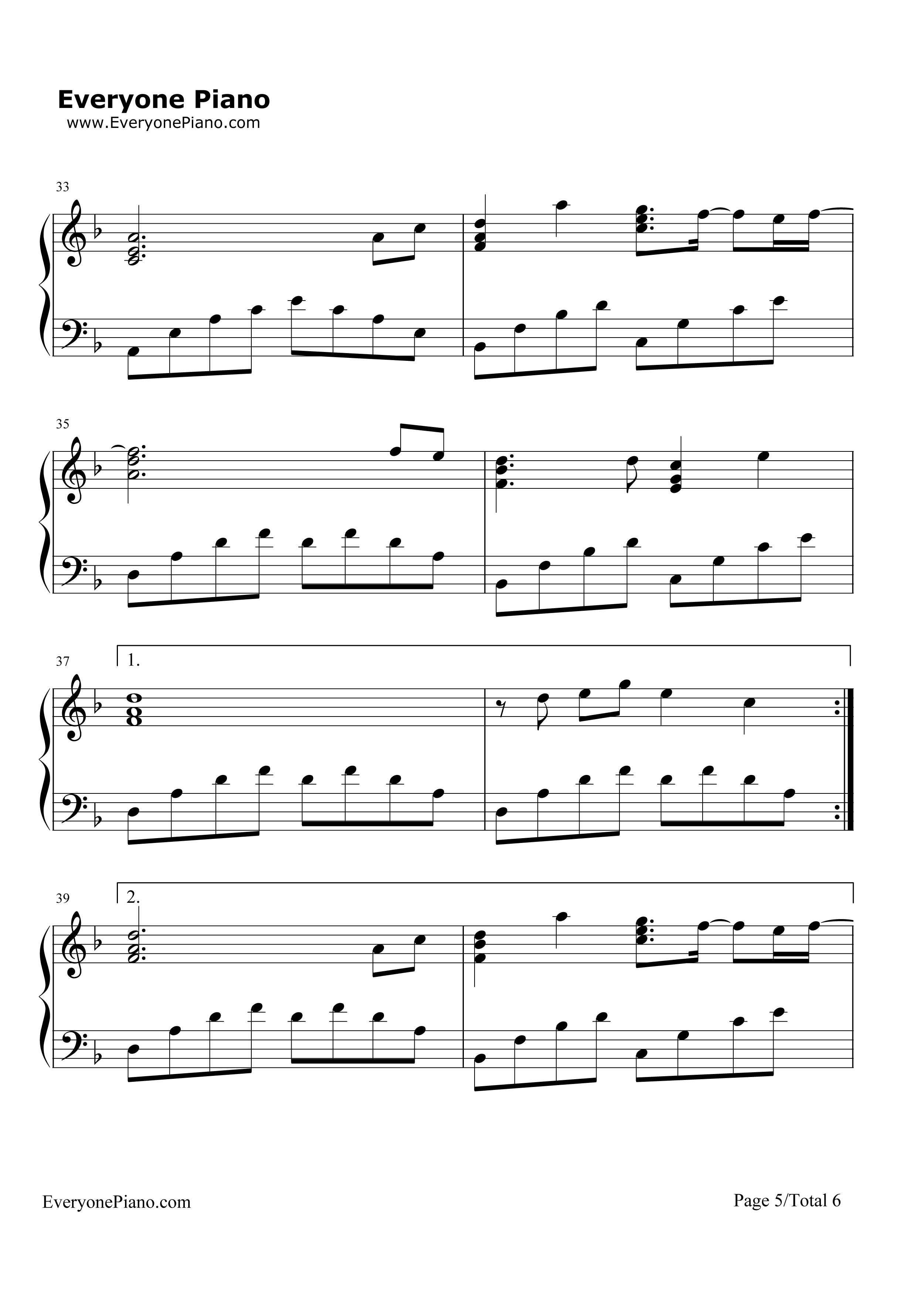 欢乐颂 完整版五线谱预览1 钢琴谱 五线谱,双手简谱