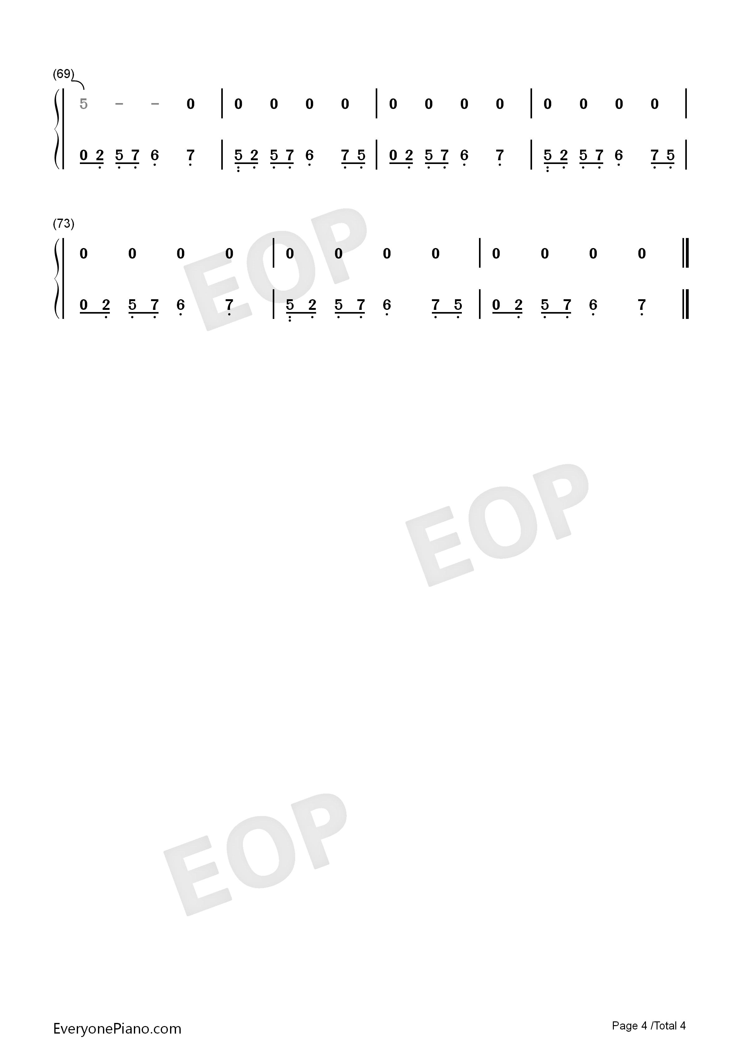 亲亲我的宝贝-周华健-eop教学曲双手简谱预览4-钢琴谱