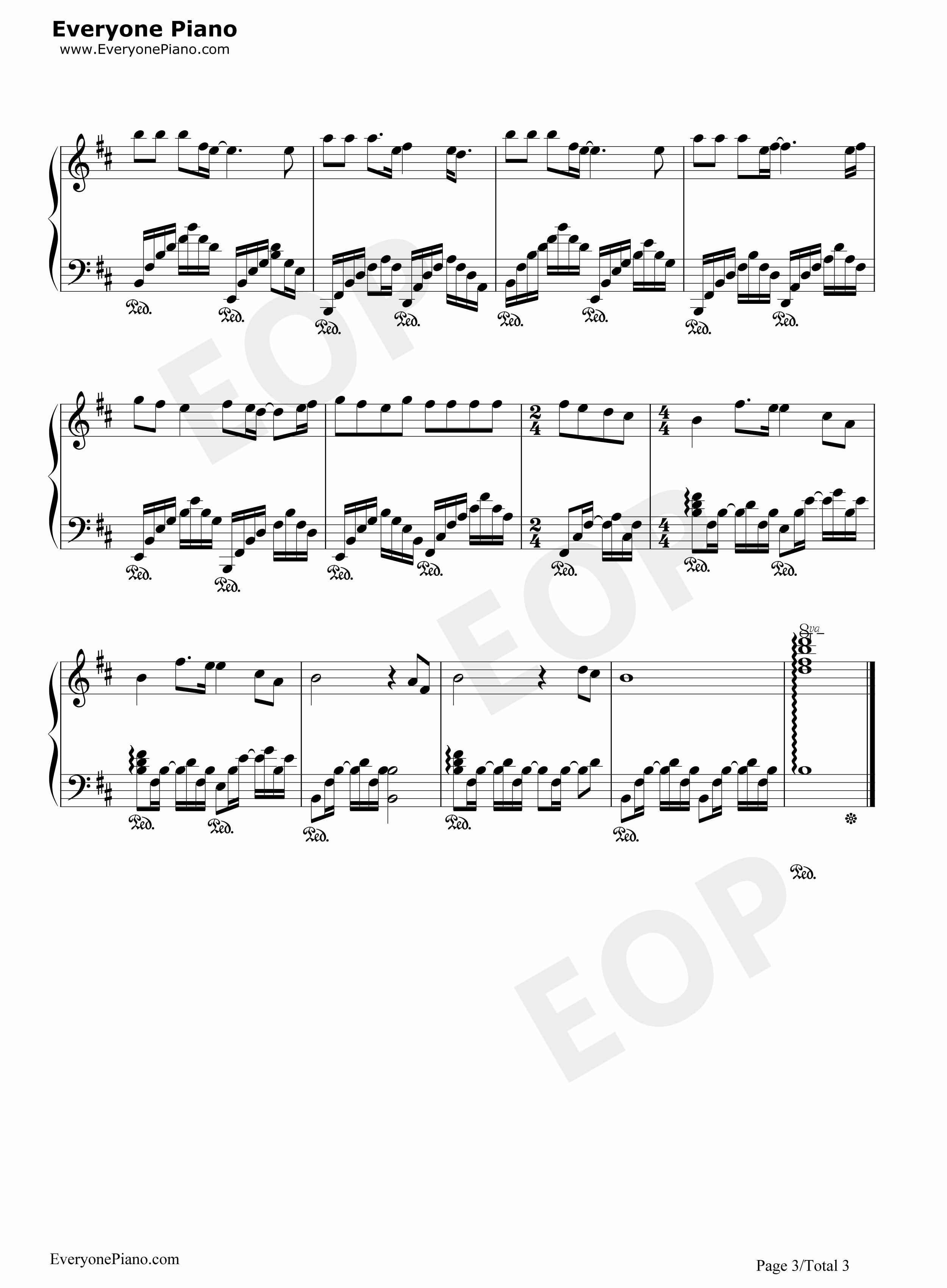 离别-阿杜五线谱预览3-钢琴谱档(五线谱,双手简谱,数