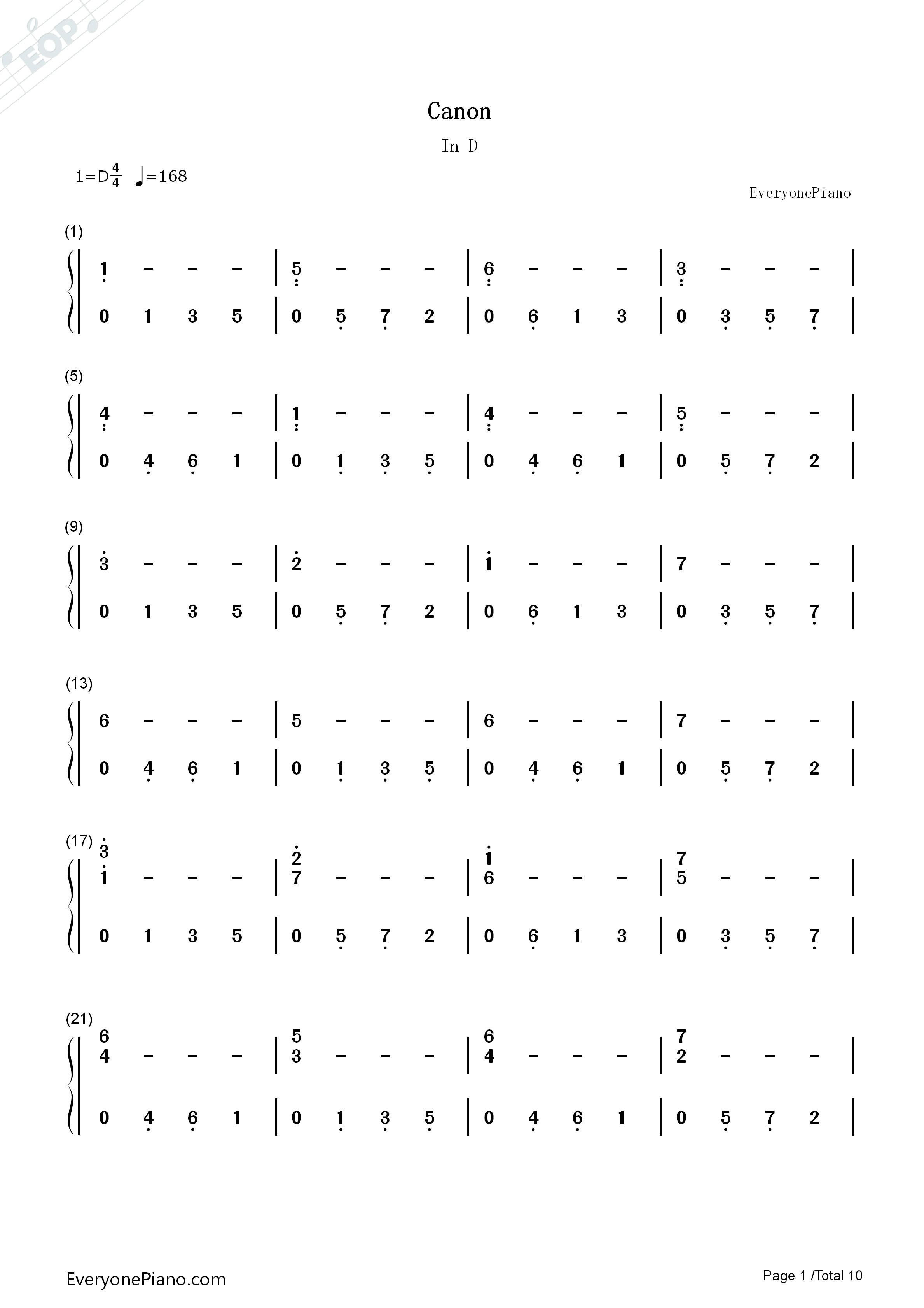 钢琴曲谱 经典 d大调卡农原版-约翰·帕赫贝尔 d大调卡农原版-约翰
