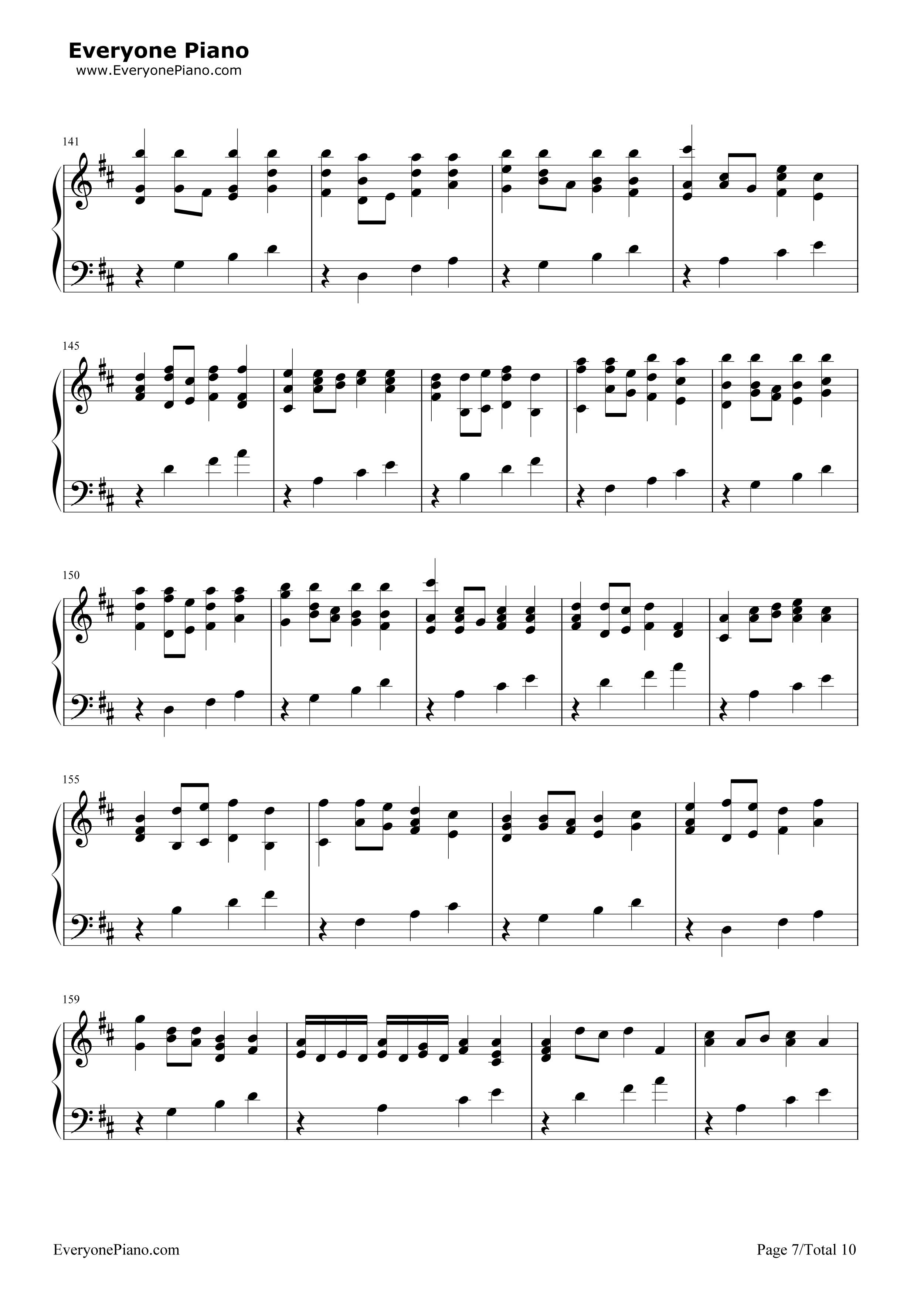 7-钢琴谱(五线谱,双手简谱)免费下载; 卡农钢琴谱 虫虫图片分享下载;