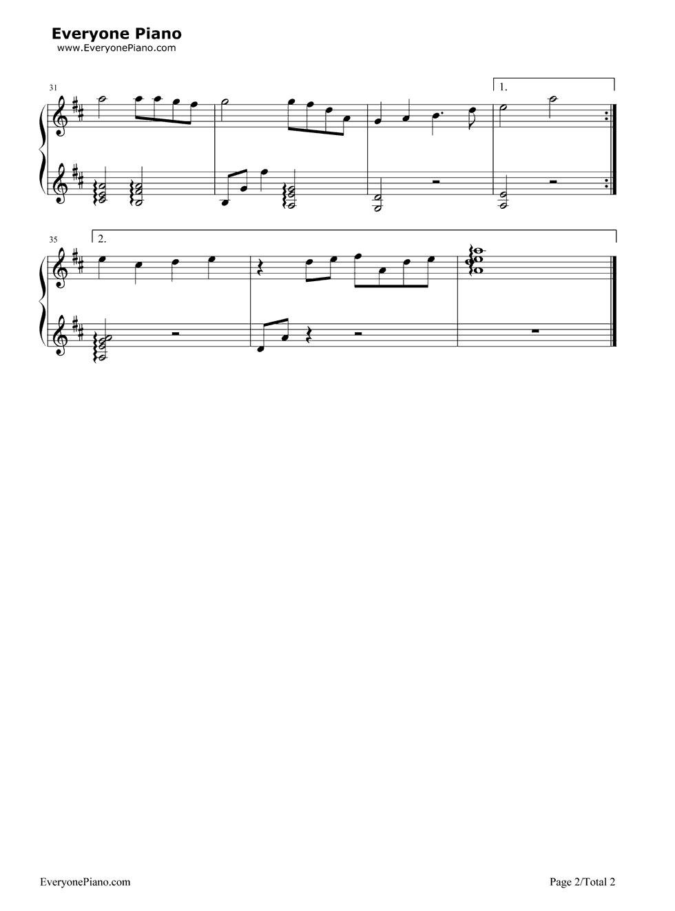 且听风吟-蜗居插曲-eop教学曲五线谱预览2-钢琴谱(,)