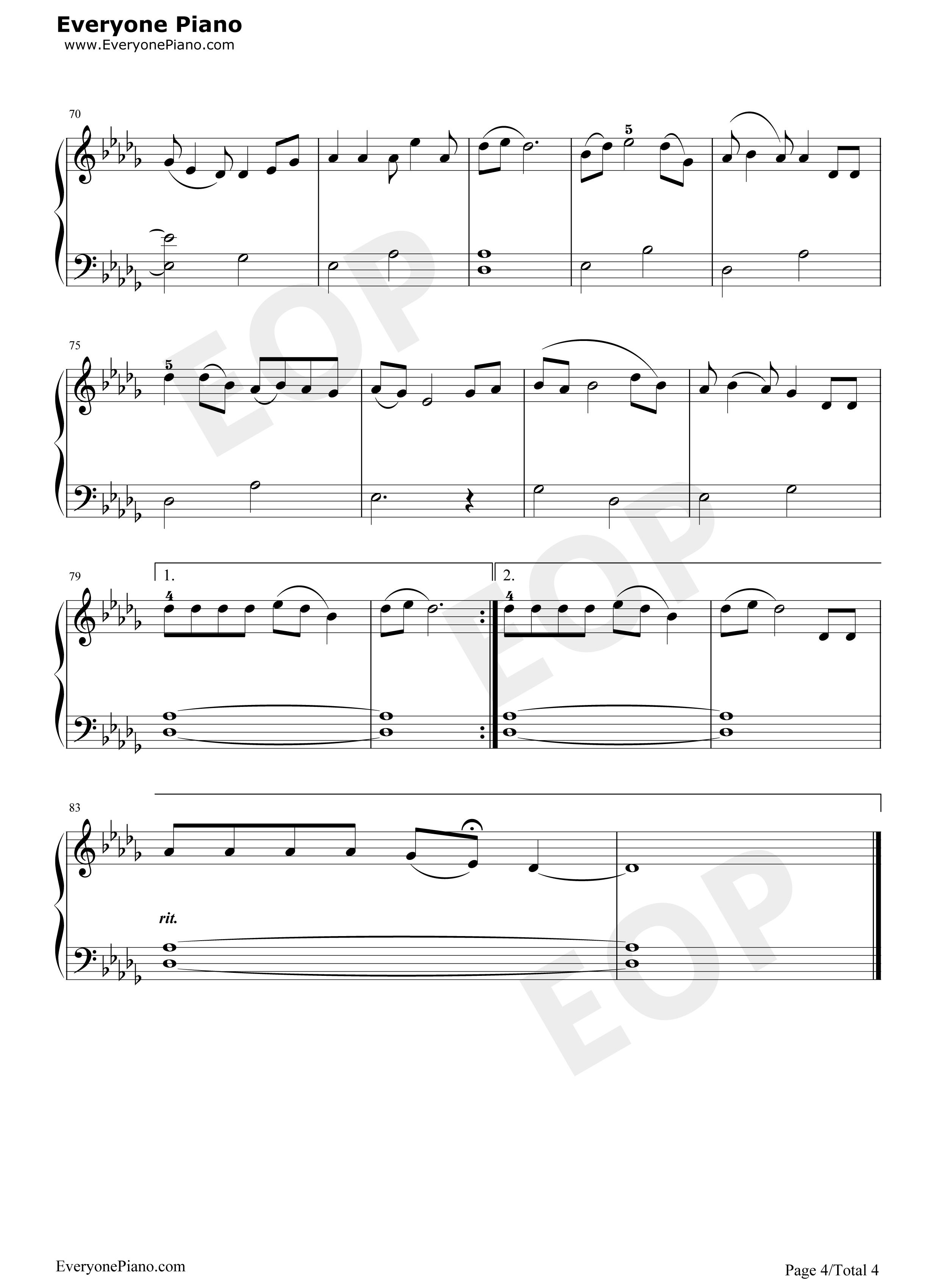 涛声依旧-毛甯五线谱预览4-钢琴谱档(五线谱,双手简谱