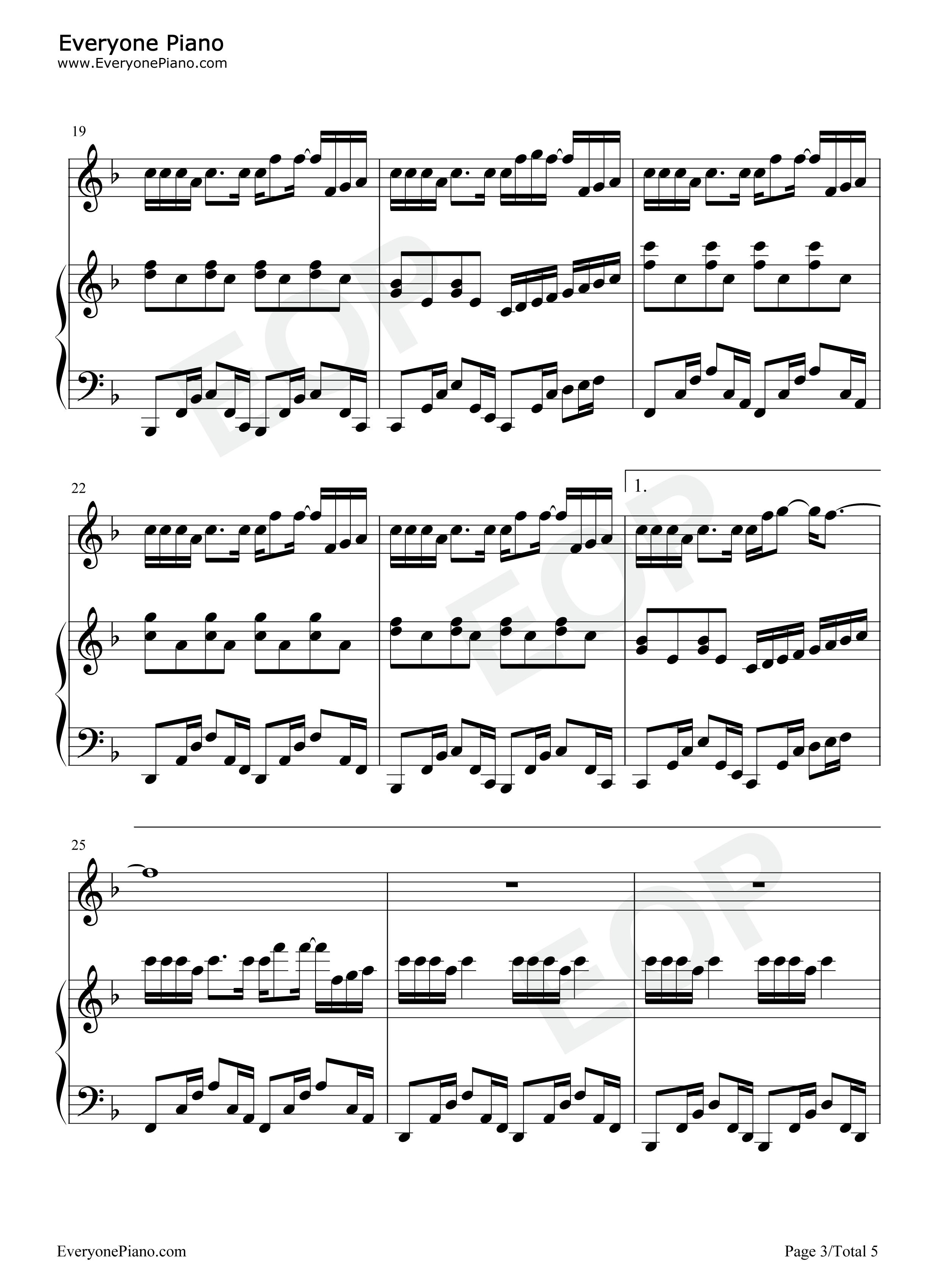 可爱女人-独奏版-周杰伦五线谱预览3