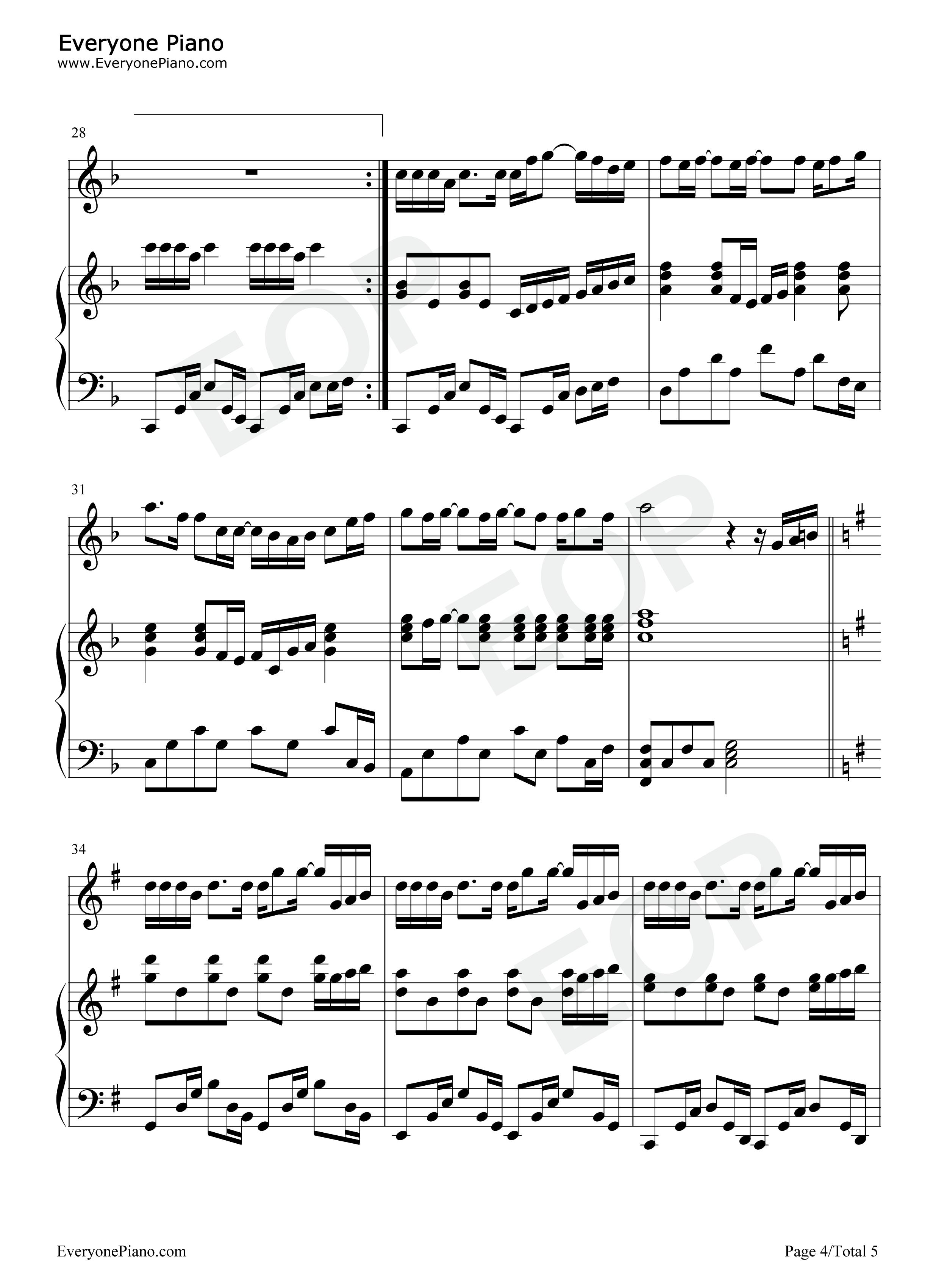 可爱女人-独奏版-周杰伦五线谱预览4