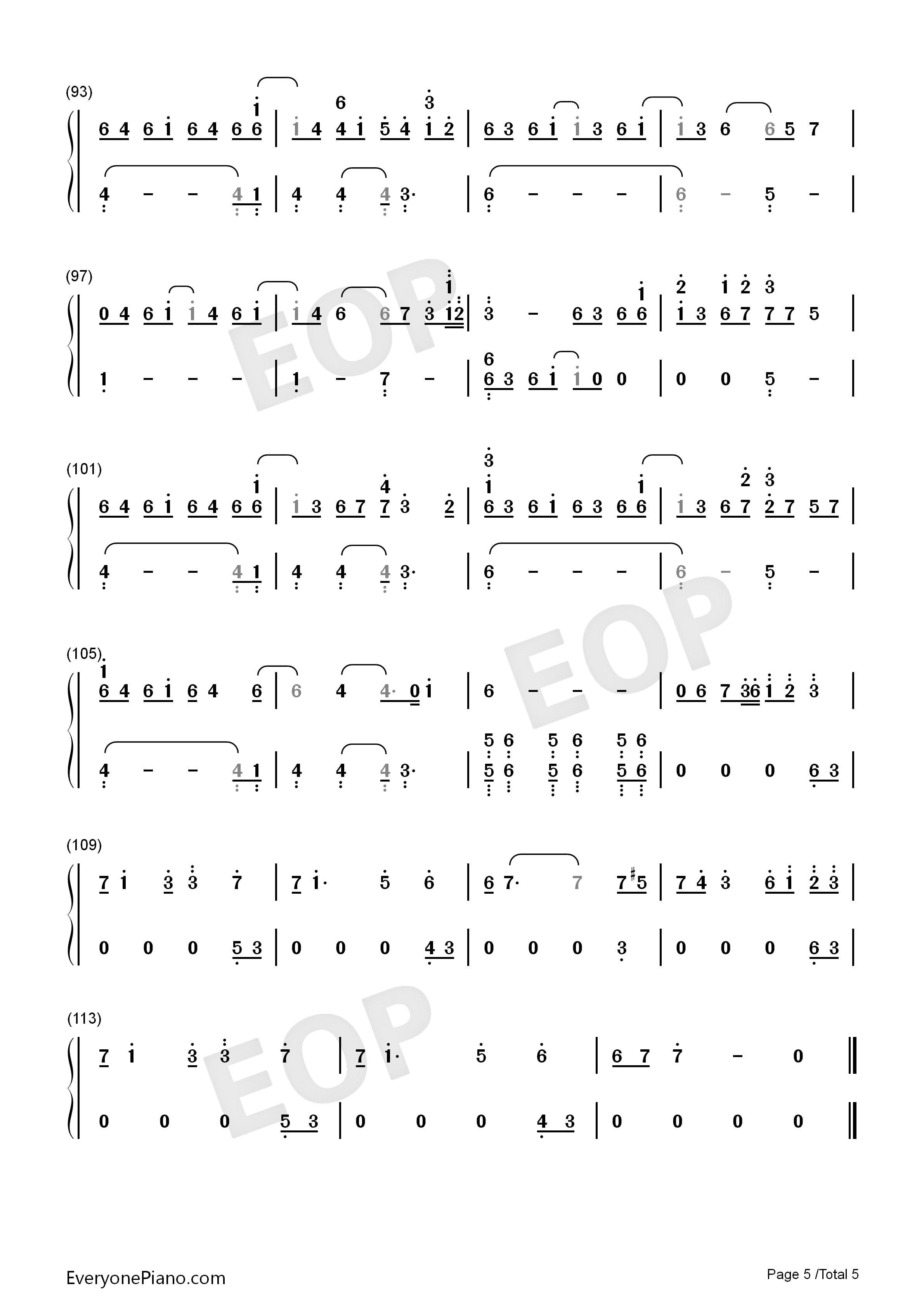 三国杀背景音乐双手简谱预览5