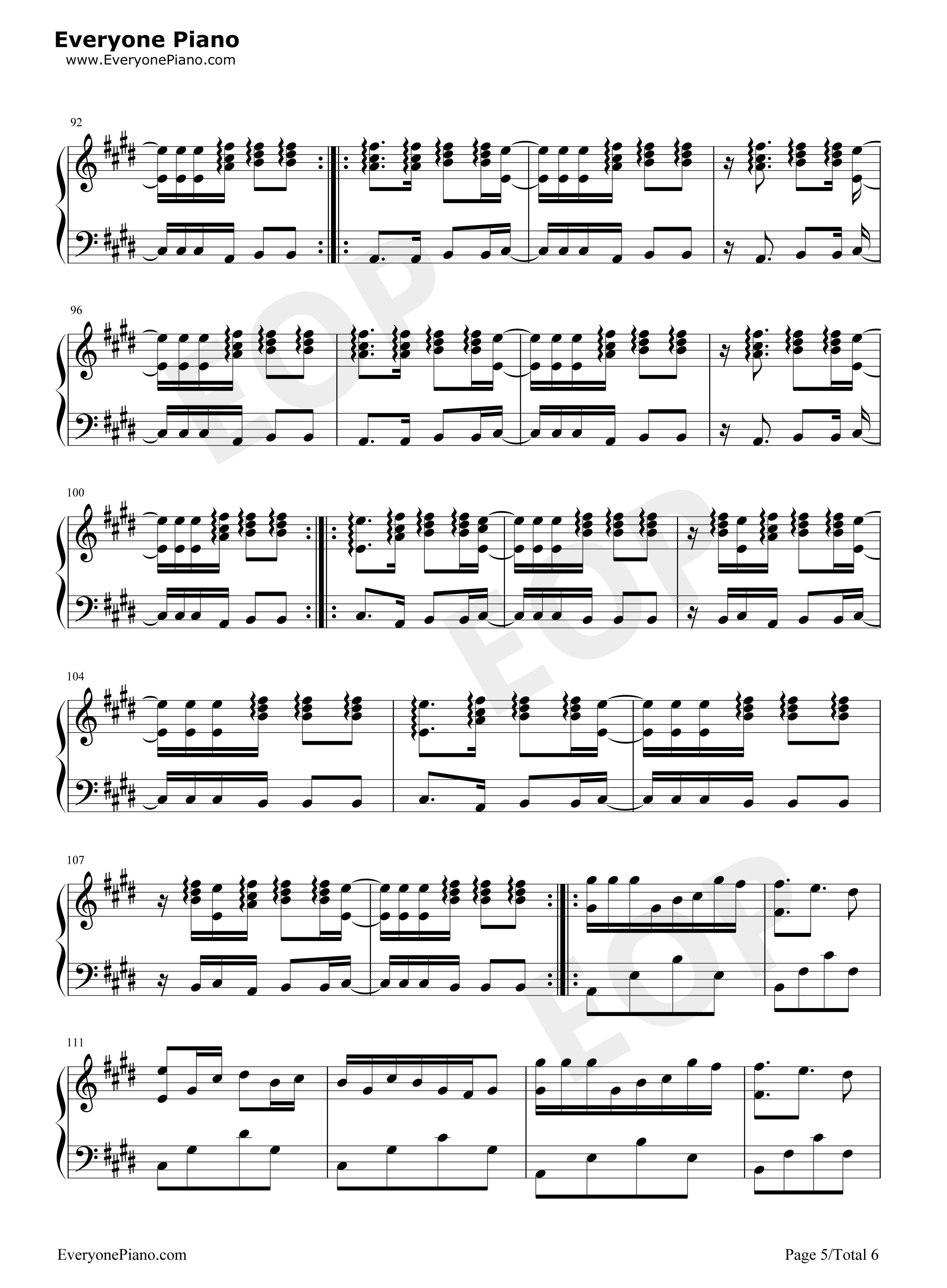 yur Eop教学曲五线谱预览5 钢琴谱档 五线谱 双手简谱 数位谱 Midi