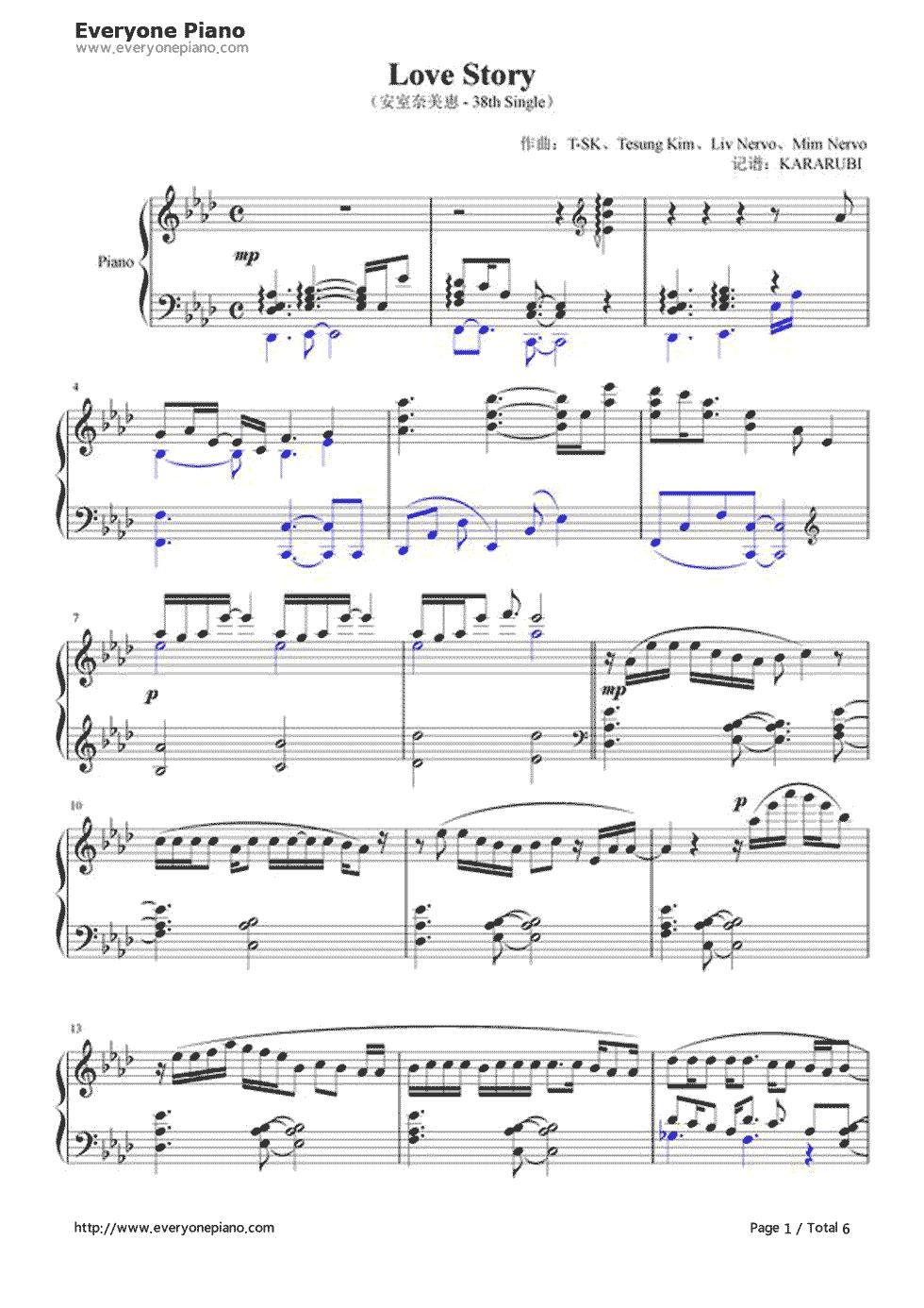 钢琴曲谱 流行 love story-安室奈美惠-eop教学曲 love story-安室奈