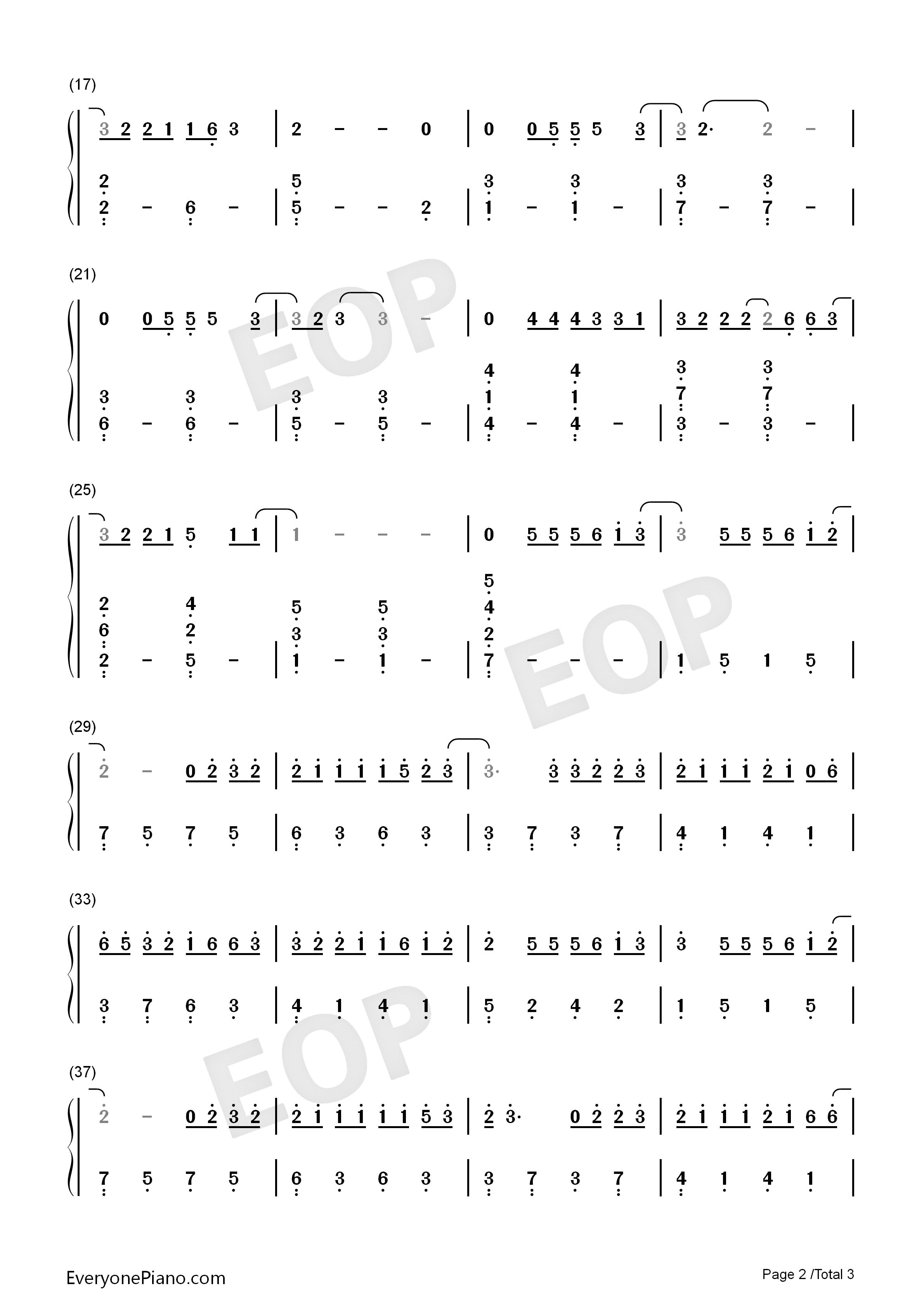 认真的雪-薛之谦-简单版双手简谱预览2-钢琴谱图片