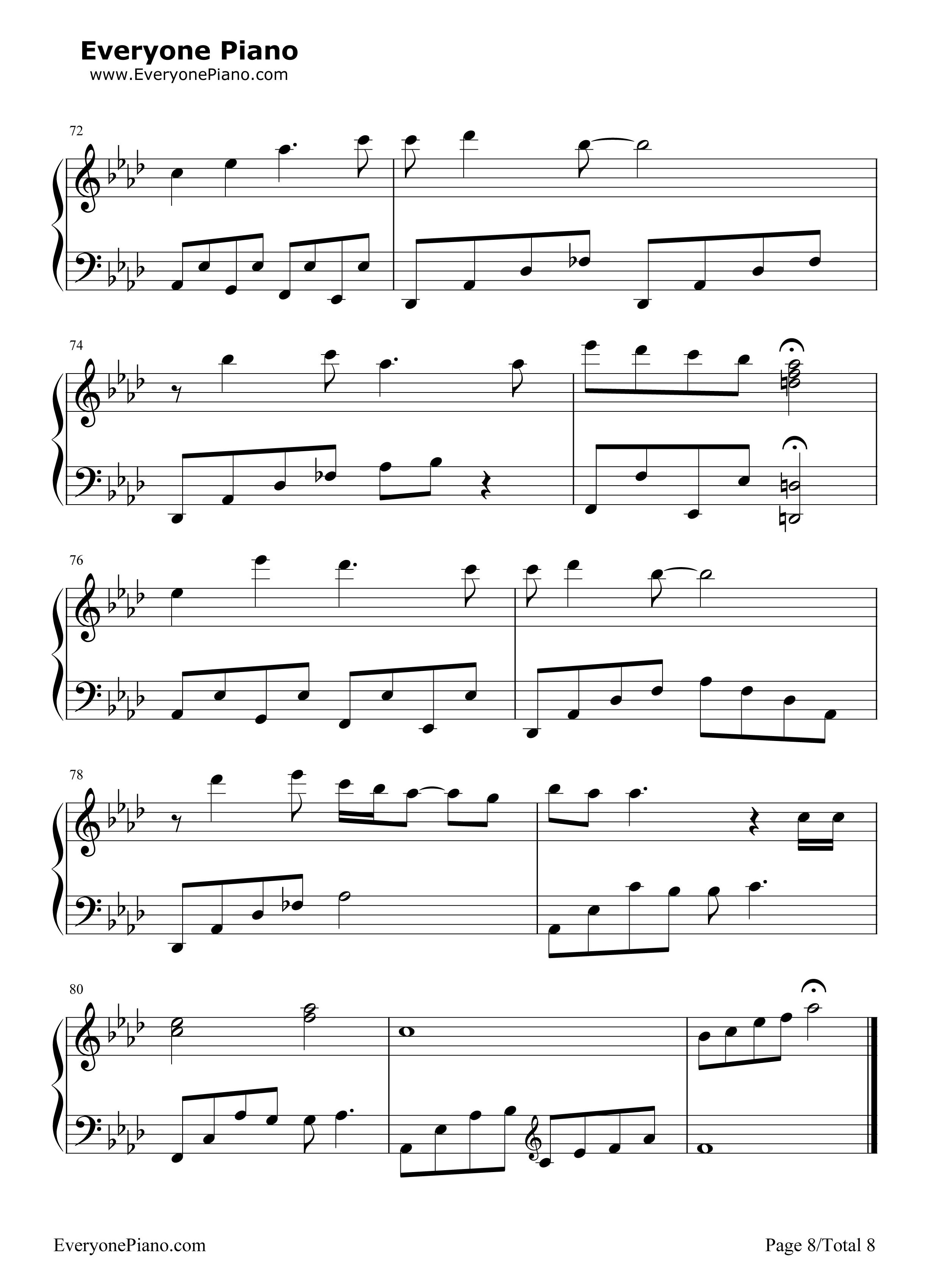 钢琴曲谱 动漫 reflection-卡通片mulan花木兰主题曲 reflection-卡