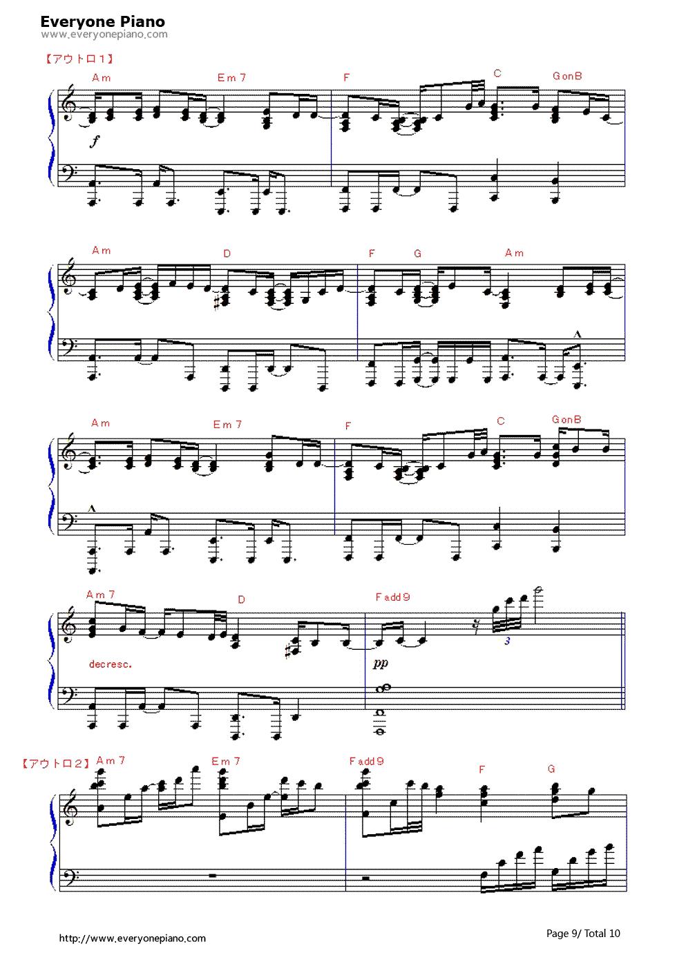 钢琴曲谱 动漫 why or