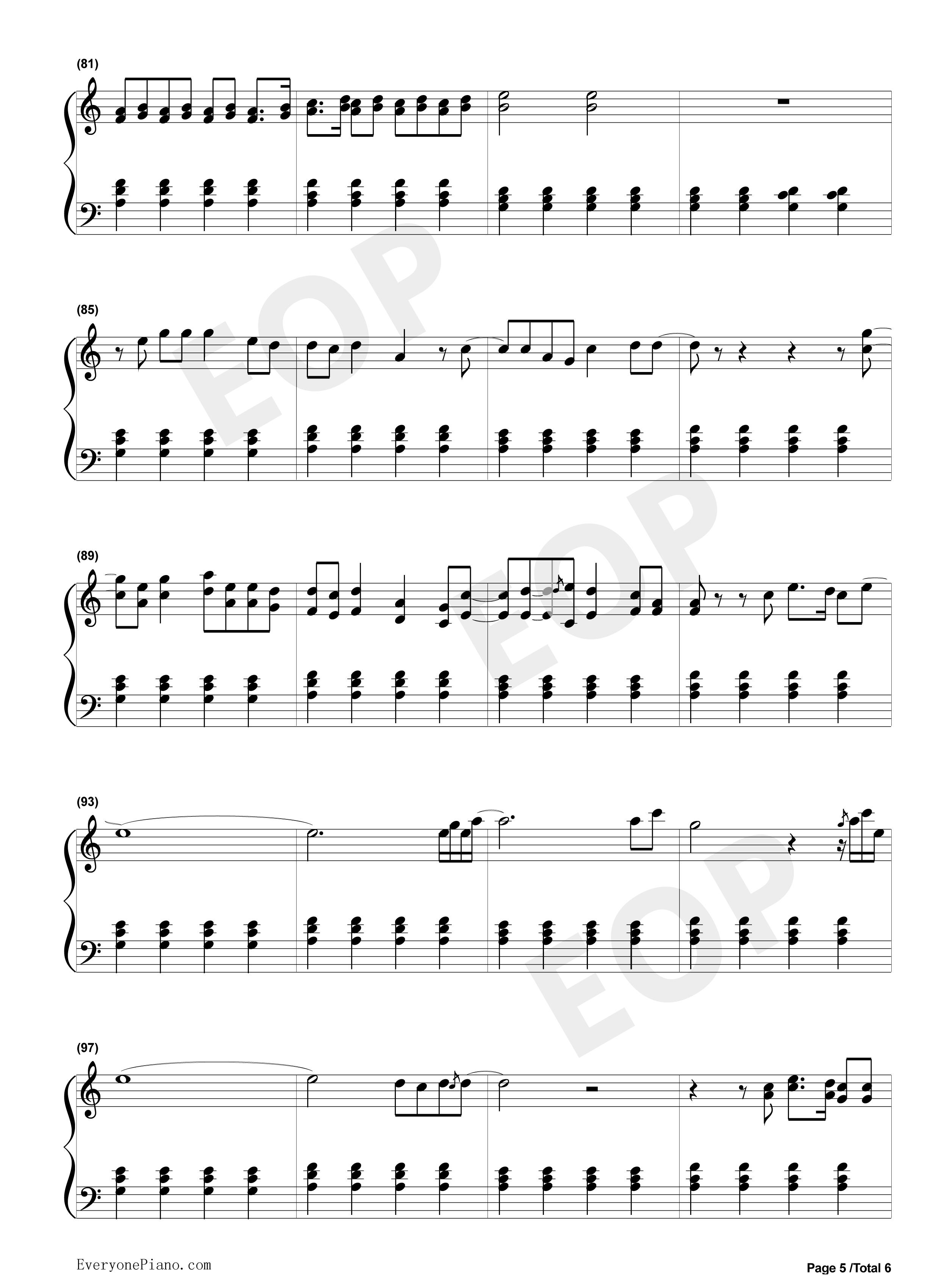 亲口口拉手手钢琴曲谱-五线谱预览5 钢琴谱档 五线谱 双手简谱 数位谱 Midi PDF 免费下载