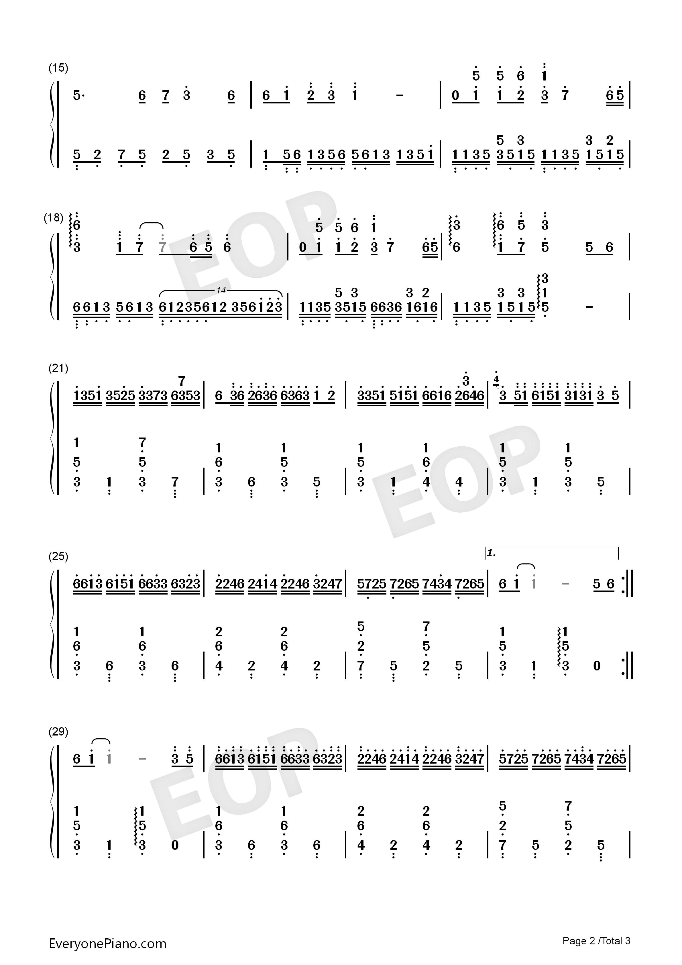 钢琴曲谱 经典 女儿情-西游记插曲-eop教学曲 女儿情-西游记插曲-eop