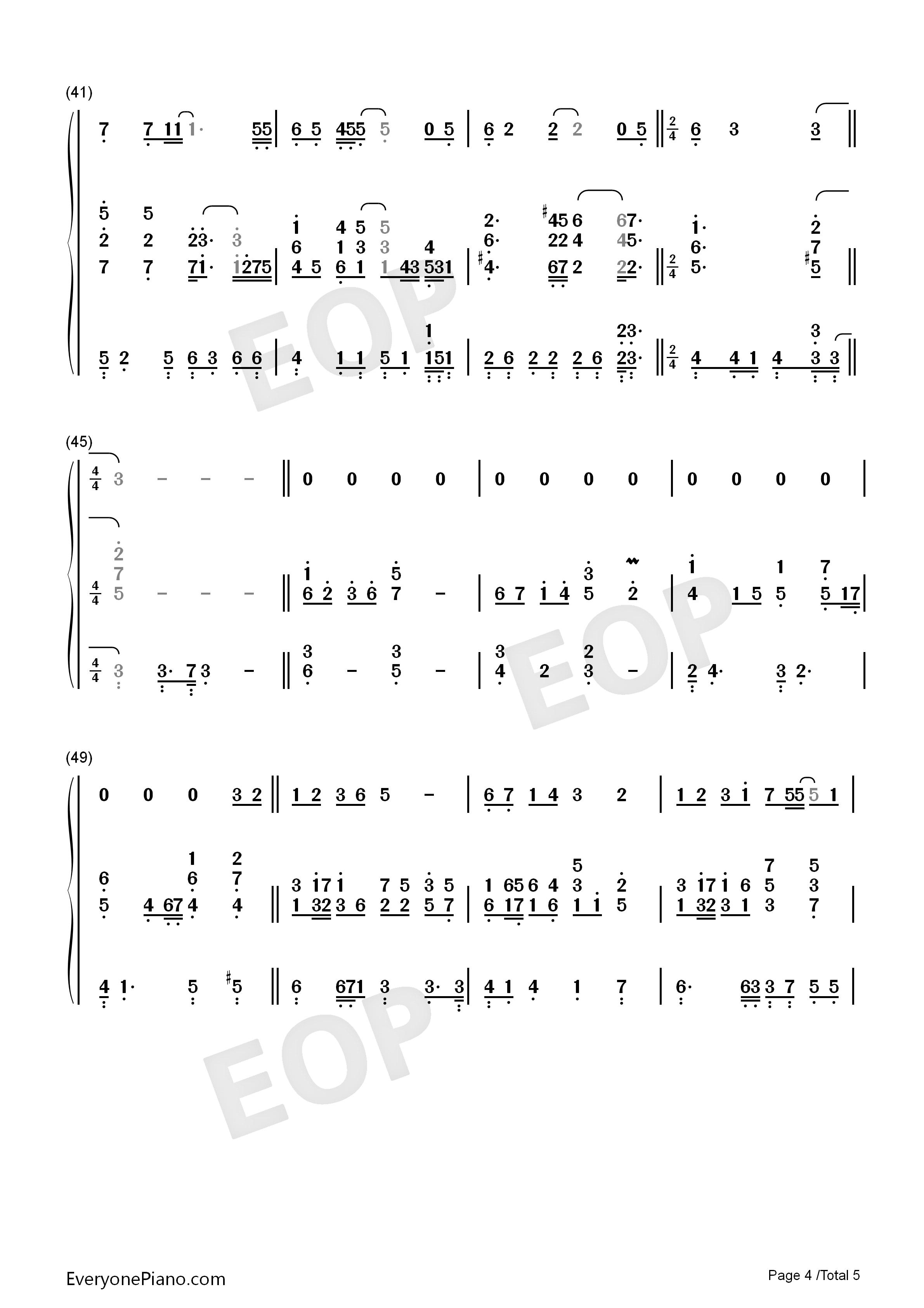 时光倒流伴奏-韩剧拥抱太阳的月亮ost双手简谱预览4