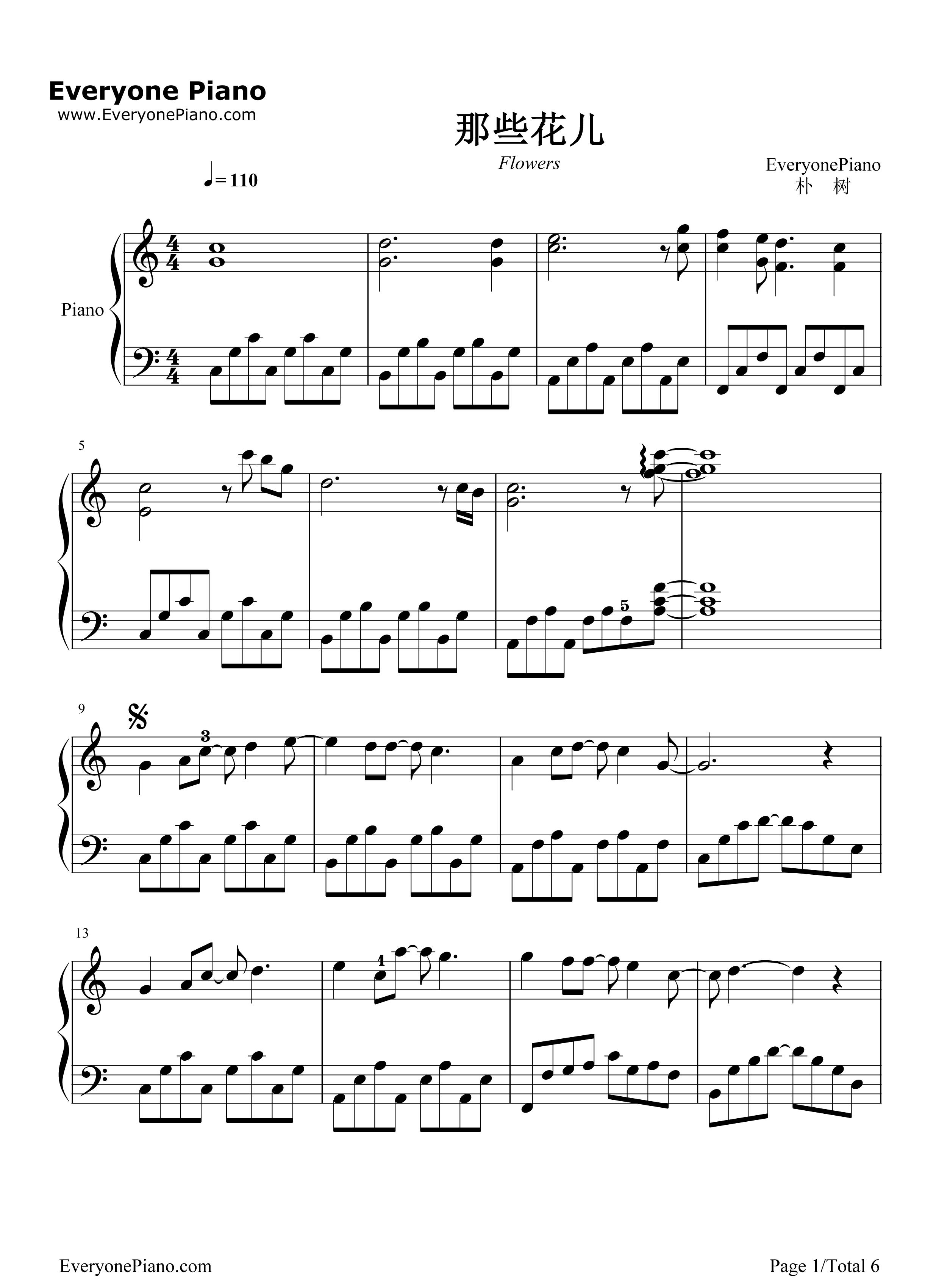 钢琴曲谱 流行 那些花儿-朴树 那些花儿-朴树五线谱预览1  }  仅供
