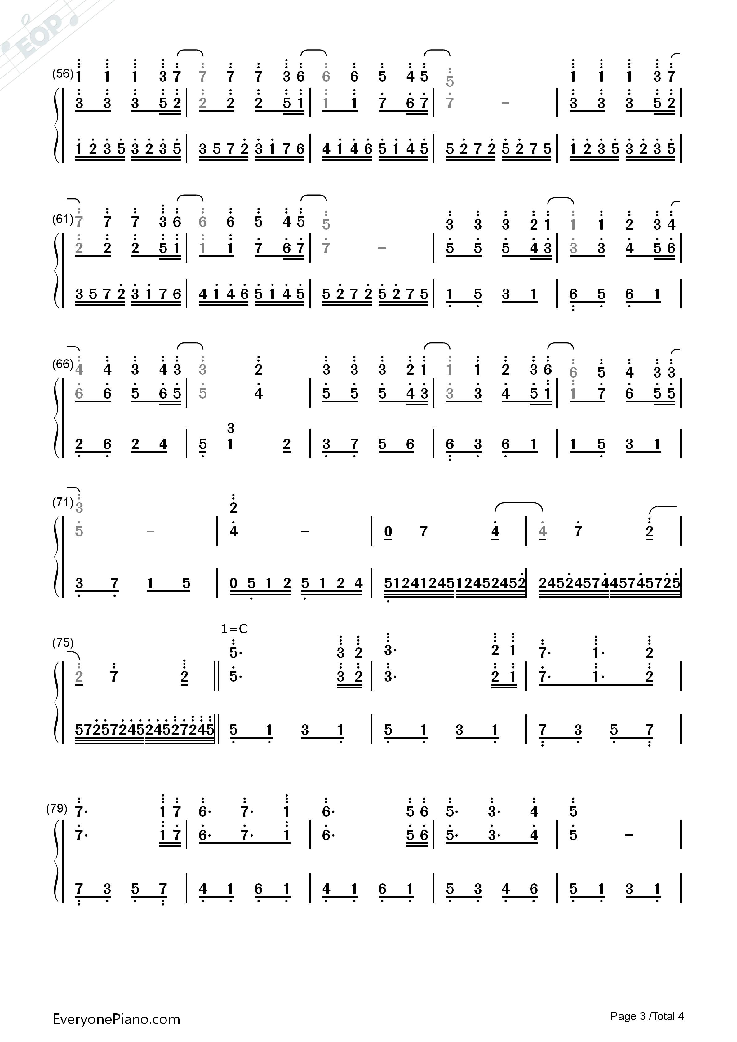 钢琴曲谱 儿歌 星星小夜曲-理查德克莱德曼-eop教学曲 星星小夜曲