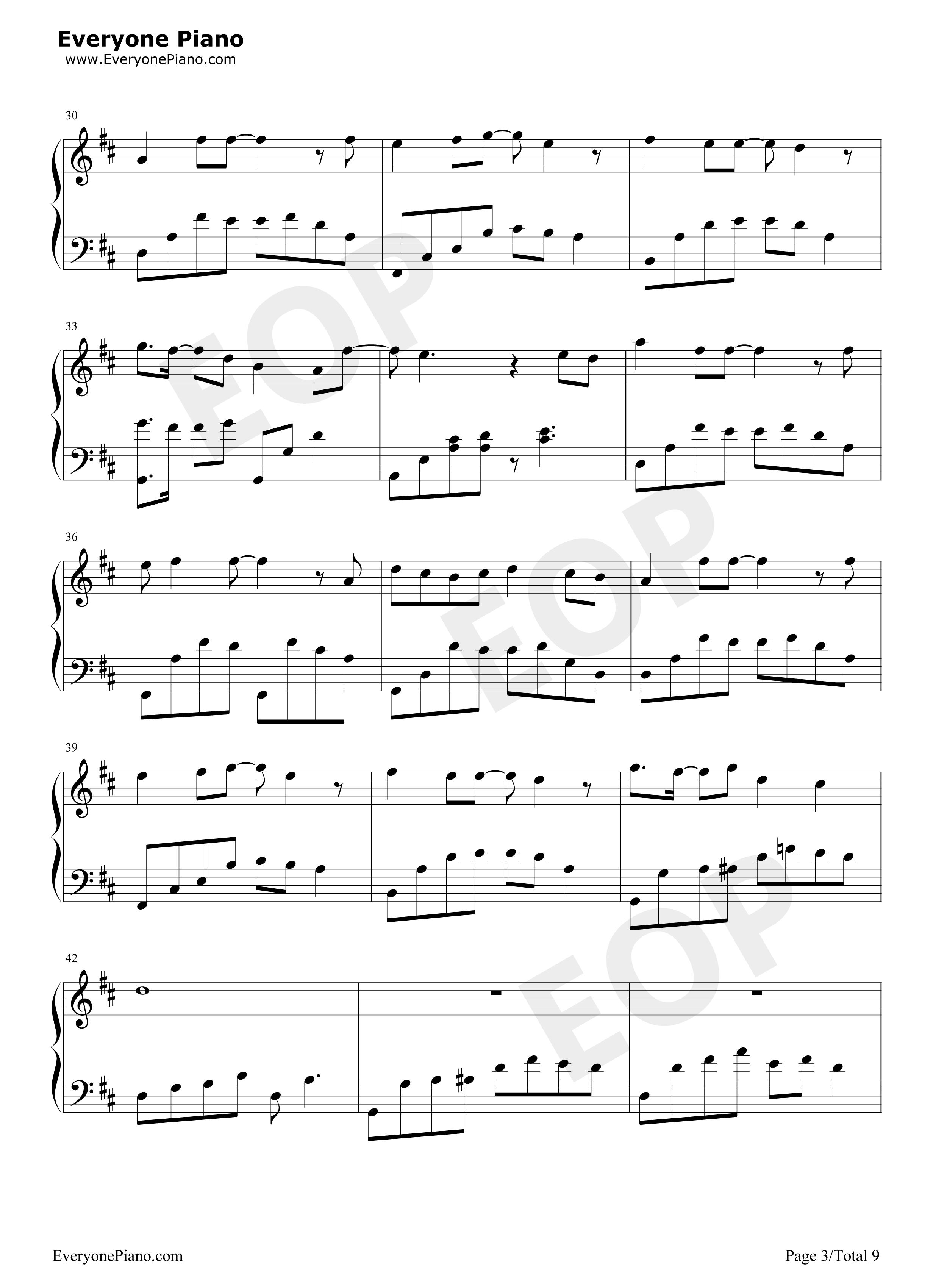旋木-王菲五线谱预览3-钢琴谱(五线谱,双手简谱)免费