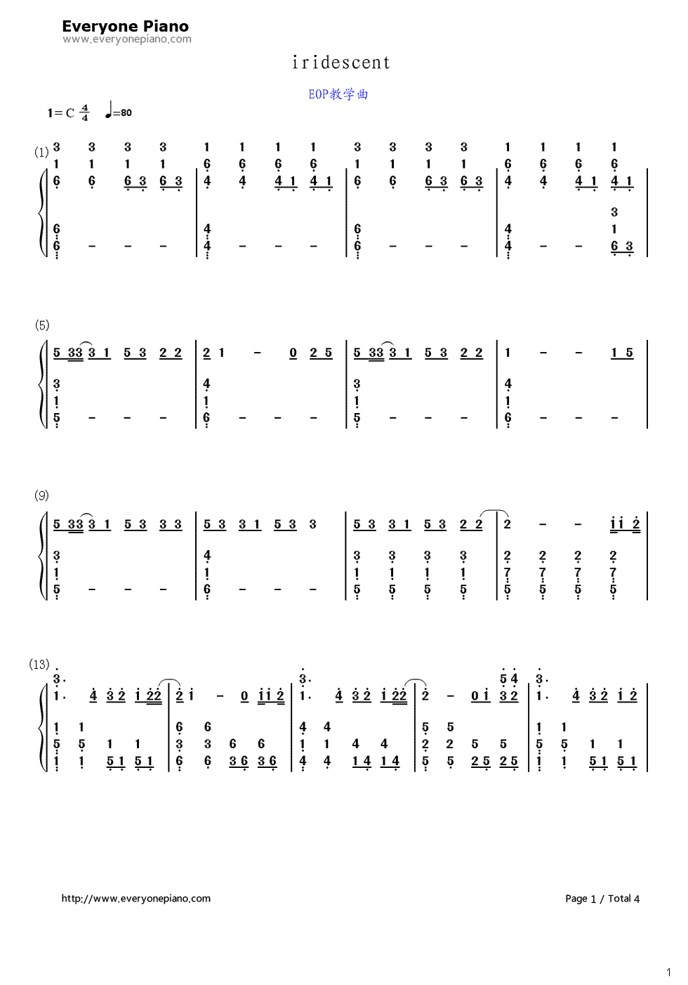 iridescent-变形金刚3主题曲-eop教学曲双手简谱预览