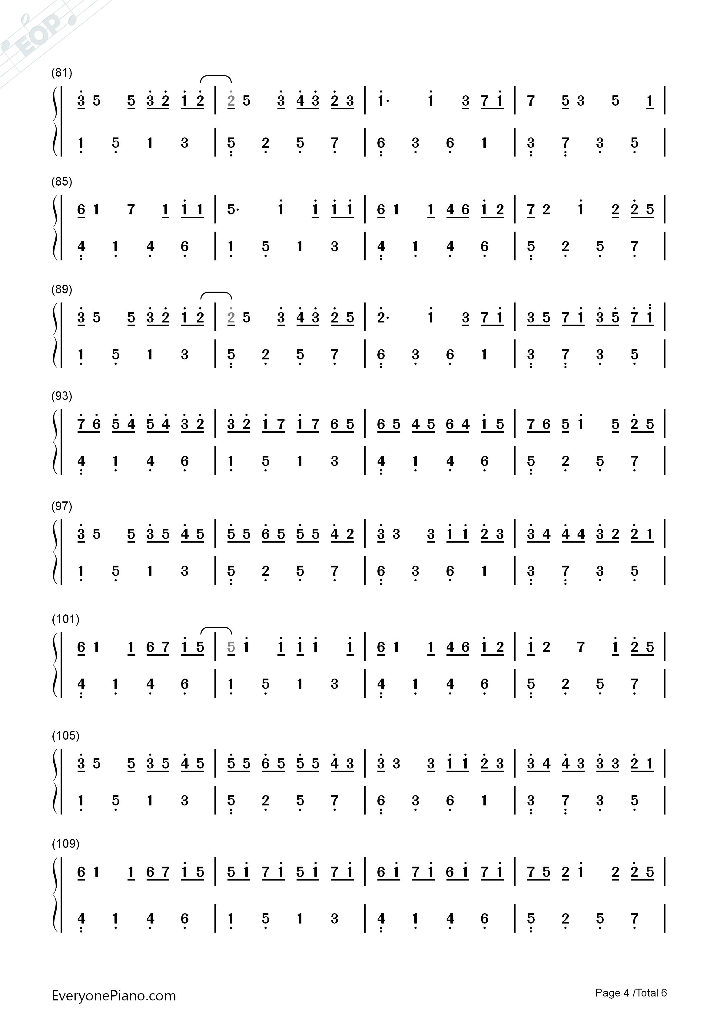 卡农钢琴曲数字简谱_简谱分享