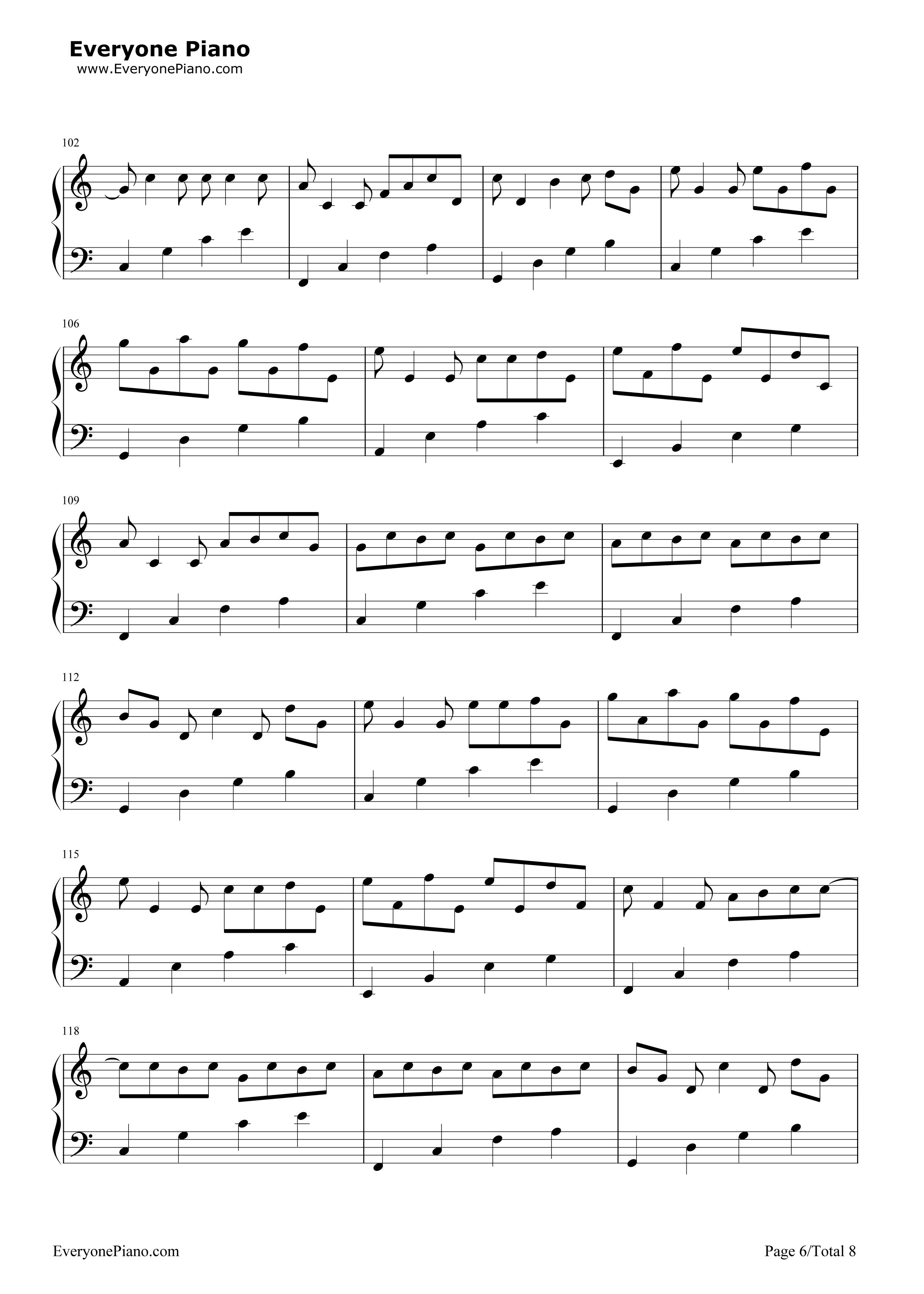 钢琴曲谱 经典 卡农c大调最简版-eop教学曲 卡农c大调最简版-eop教学