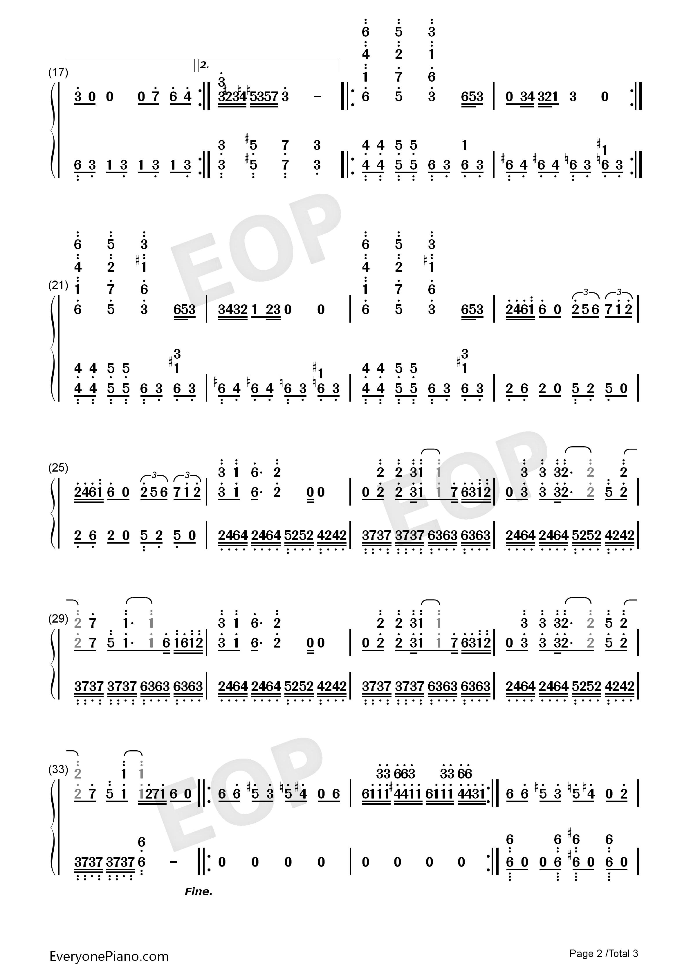植物大战僵尸泳池bgm-eop教学曲双手简谱预览2-钢琴谱