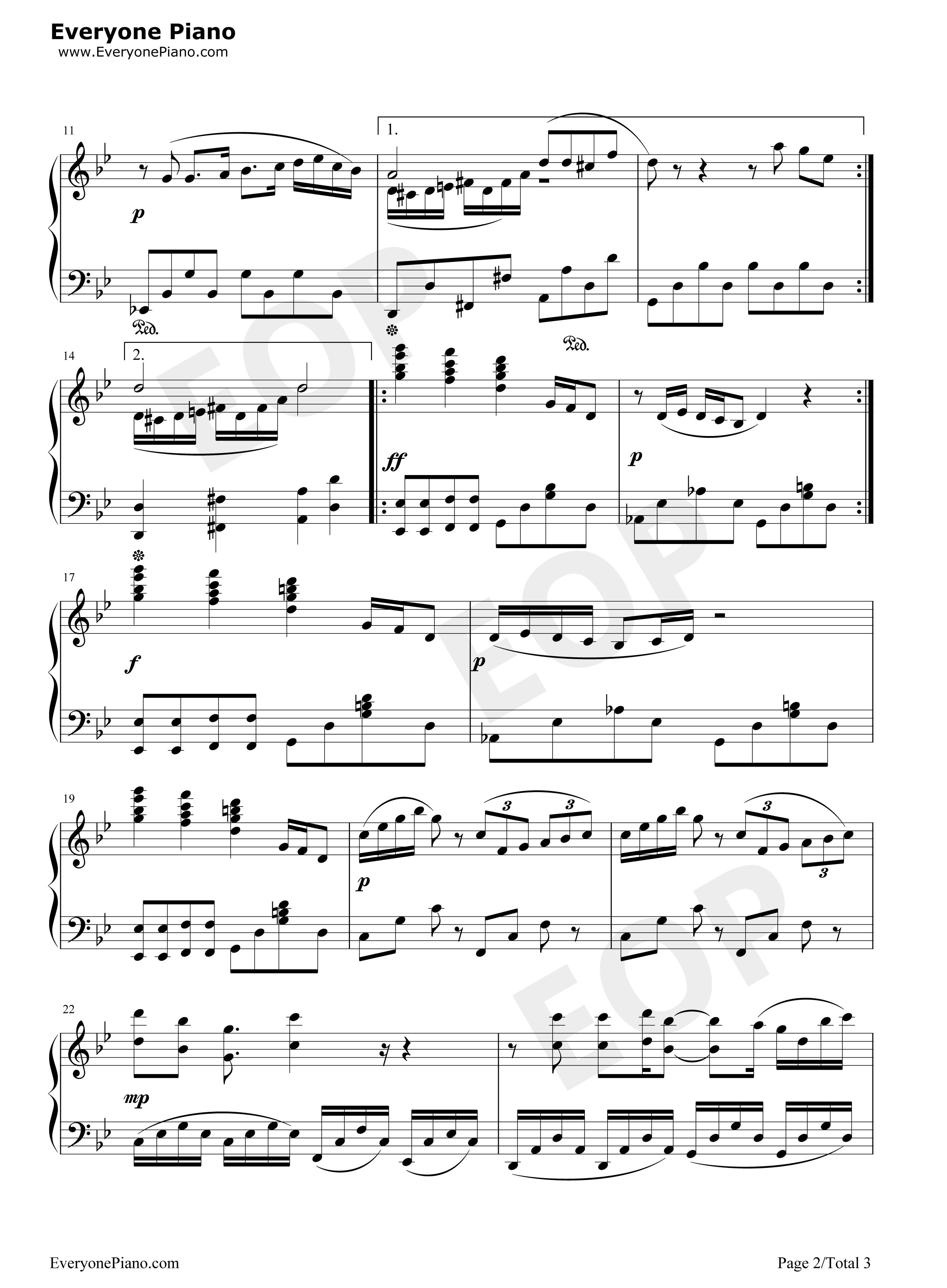 植物大战僵尸泳池bgm-eop教学曲五线谱预览2-钢琴谱档