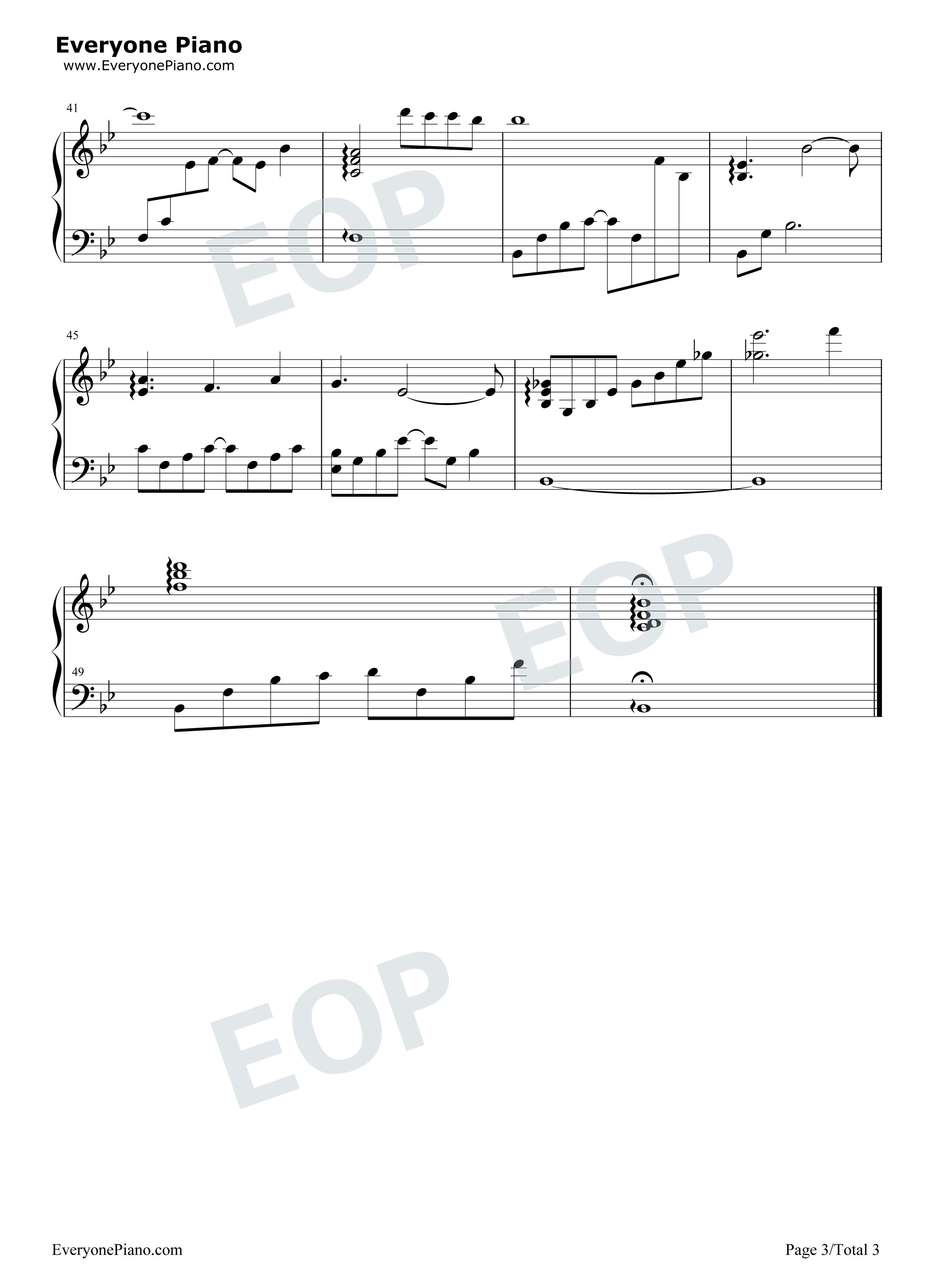 记得我爱过-《泡沫之夏》主题曲五线谱预览3-钢琴谱(五线谱,双手简谱)图片